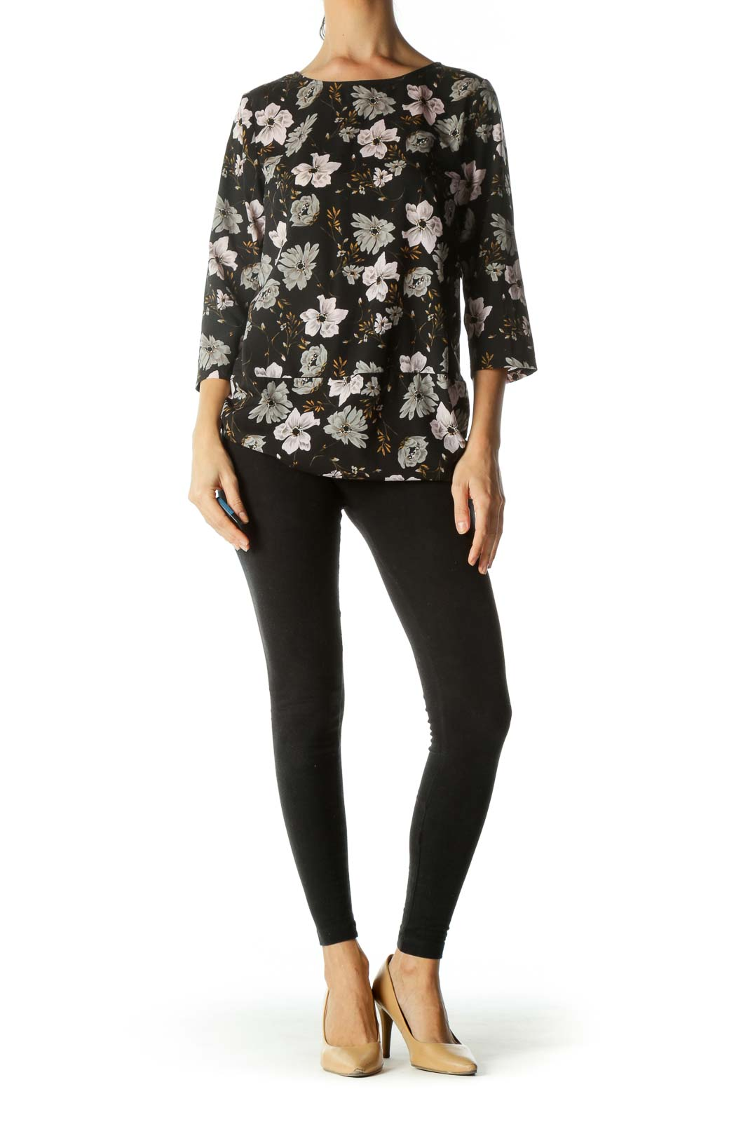 Black Gray Pink Floral Print Long Sleeve Top