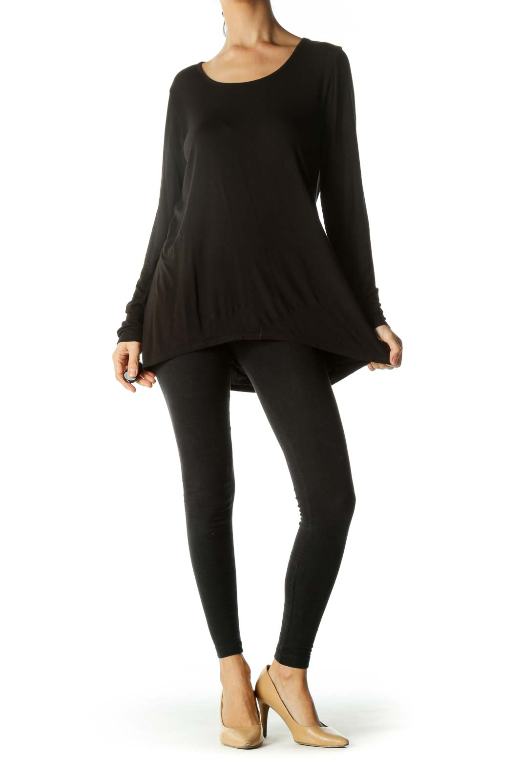Black Relaxed Long Sleeve Top