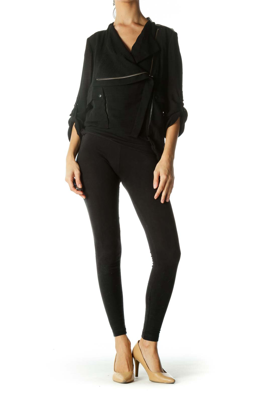 Black Asymmetric Zippered Jacket