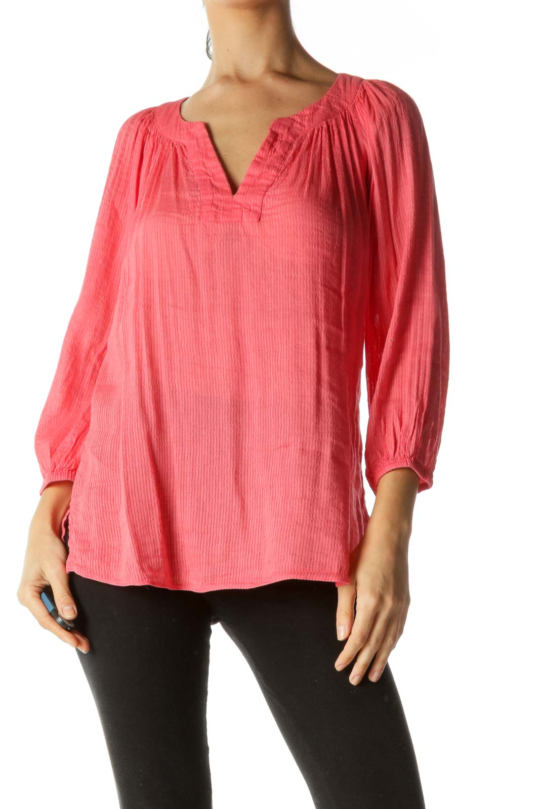 Coral Pink V-Neck Linen Blend Tunic Top