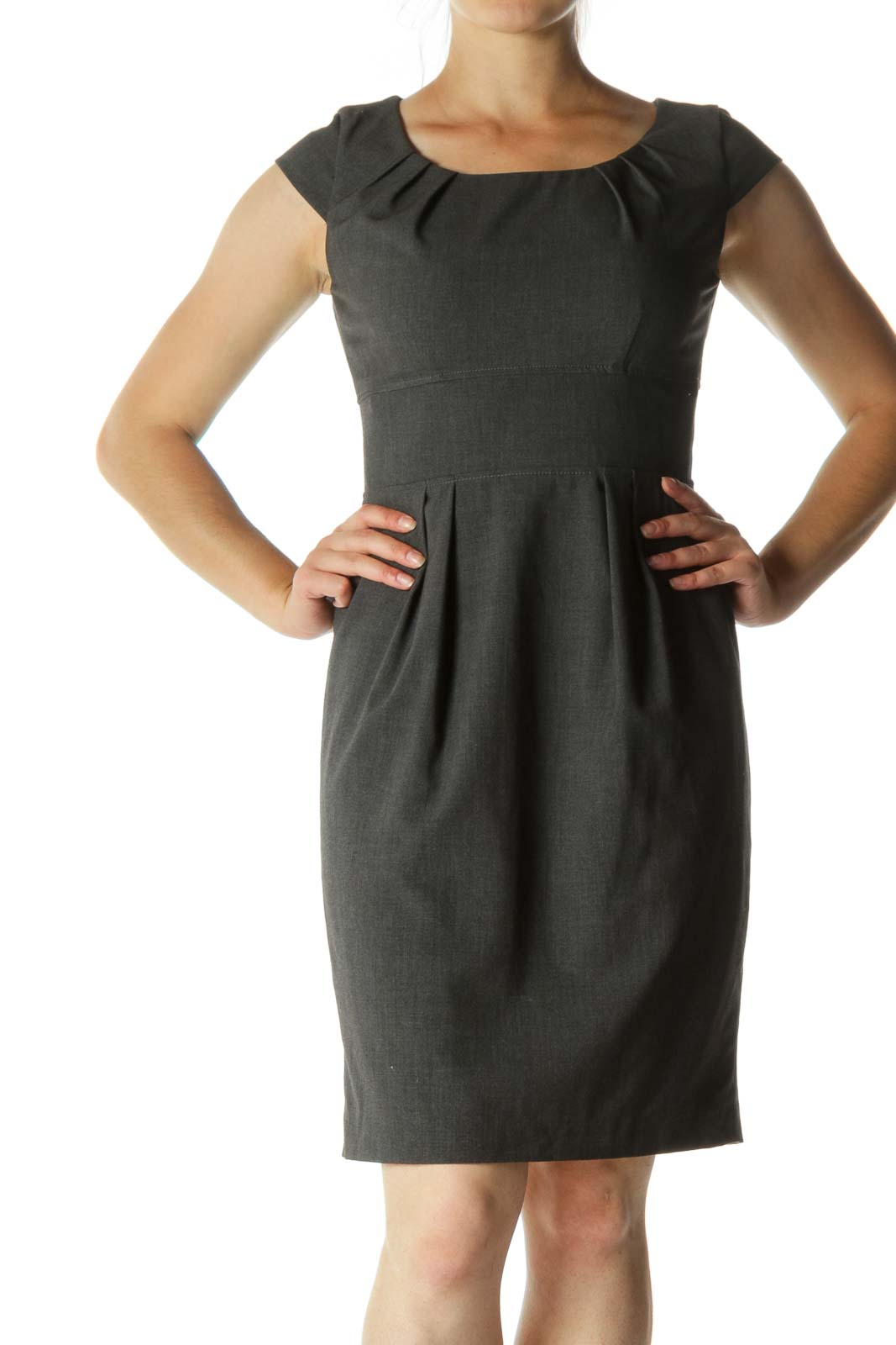 Gray Pleated Mid-Length Work Dress