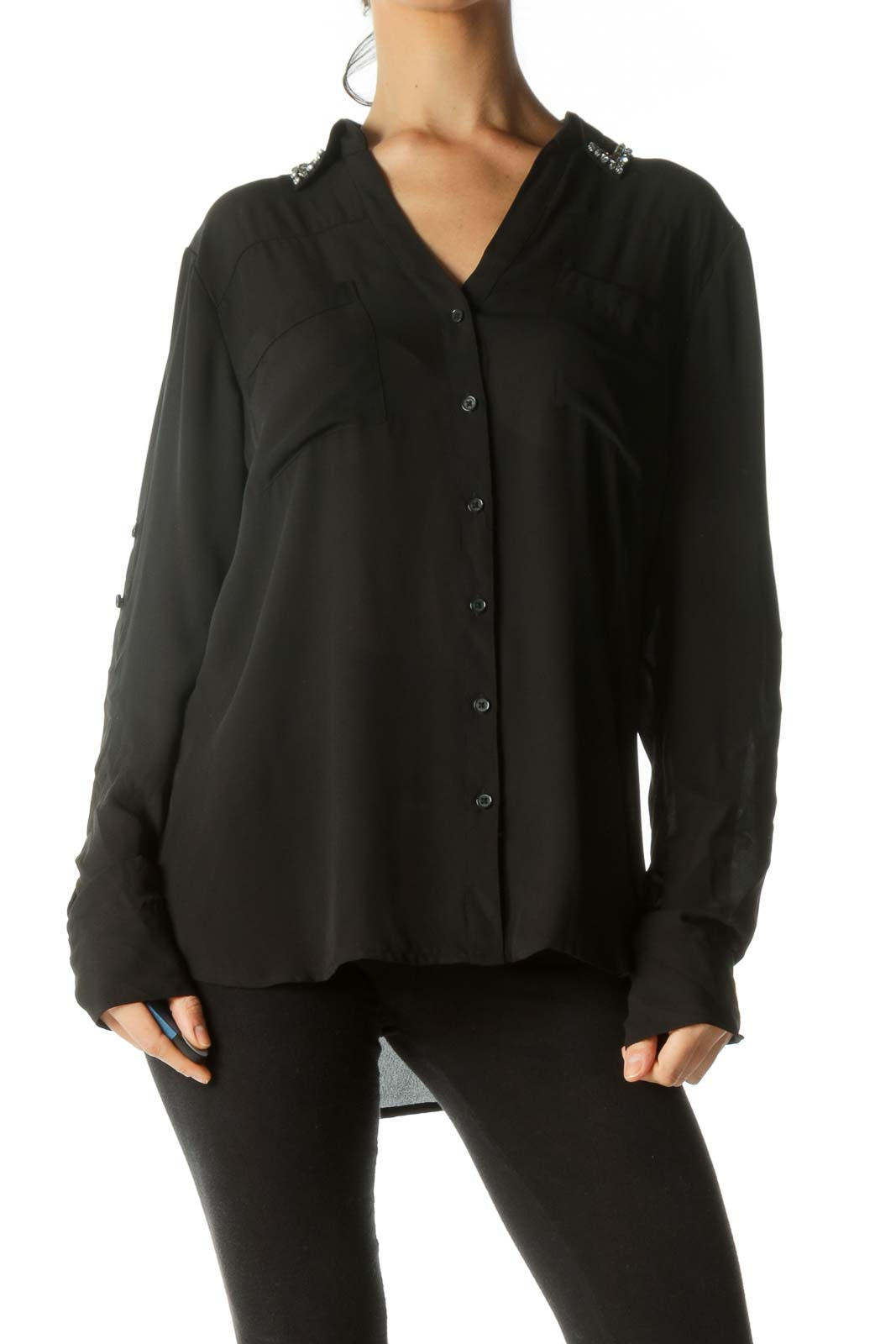 Black Bejeweled Collar Pocketed Shirt