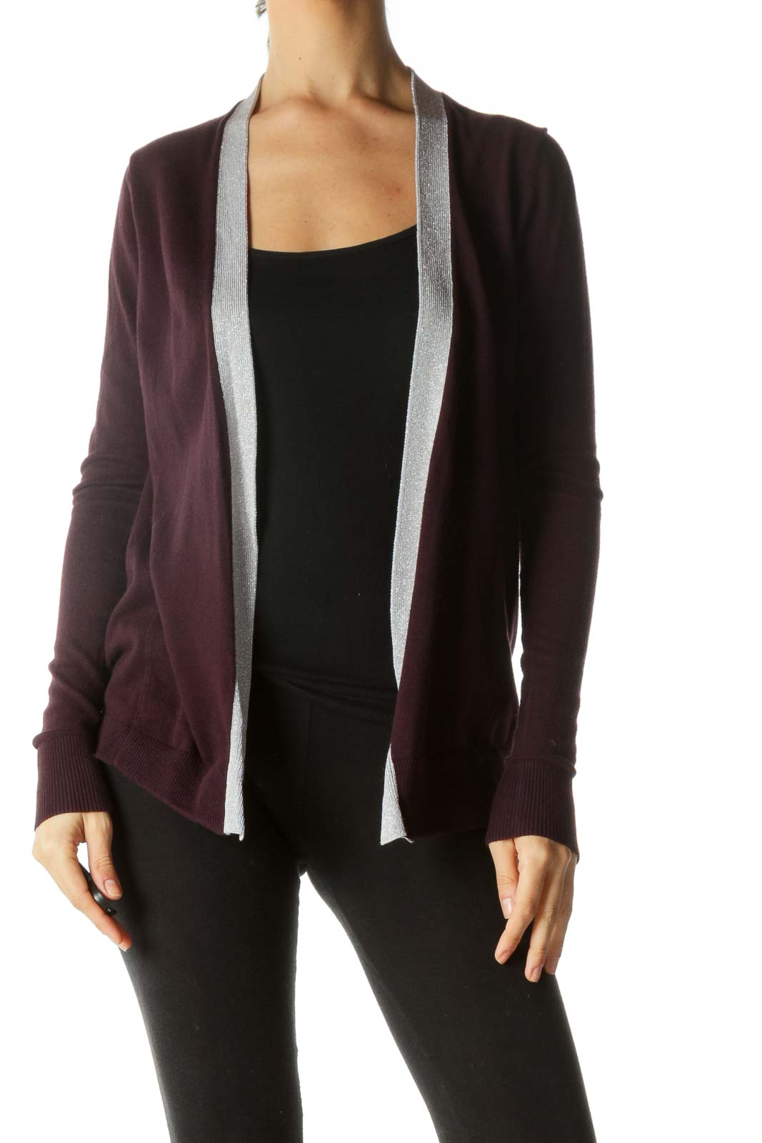 Purple Metallic Detail Open Cardigan