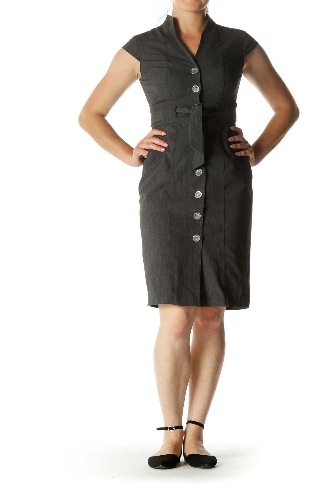 Gray Button-Down Slim Midi Work Dress