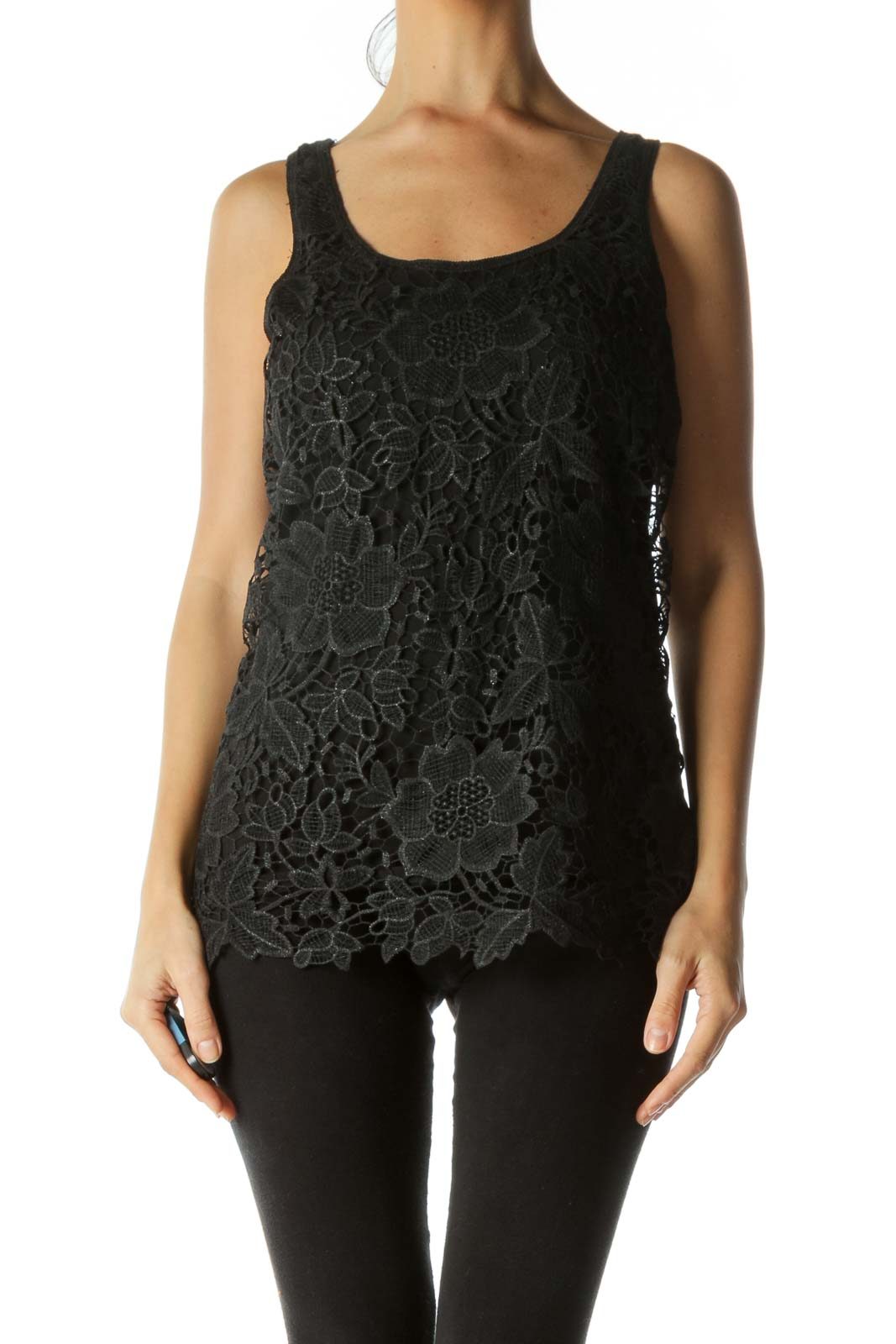 Black Crocheted Metallic Tank Top
