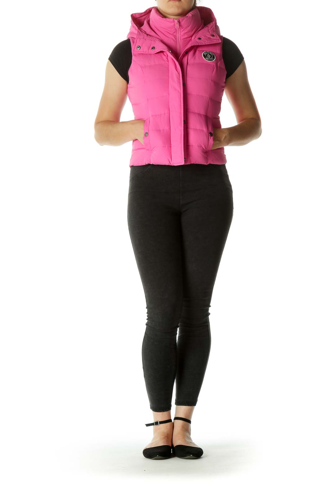Pink Padded Hooded Pocketed Down Vest