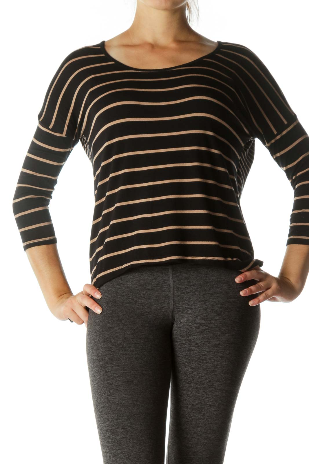 Black Beige Striped Soft Round Neck Long Sleeve Top