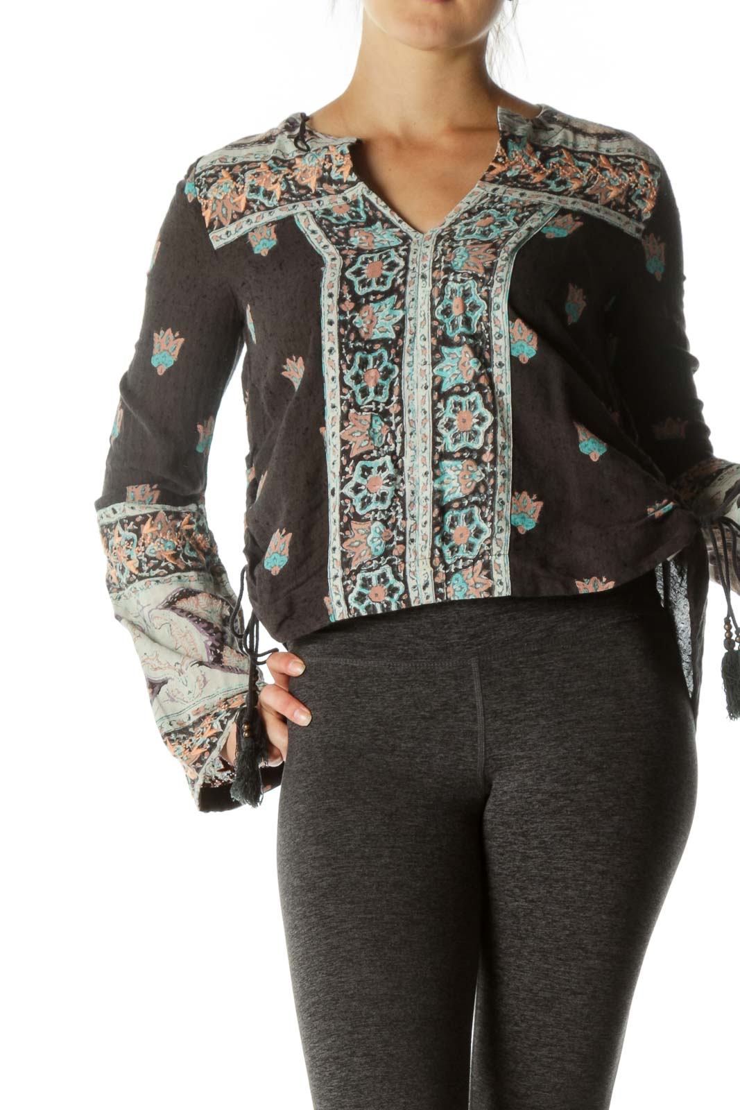 Black Side Ruched Embroidered Boho Top