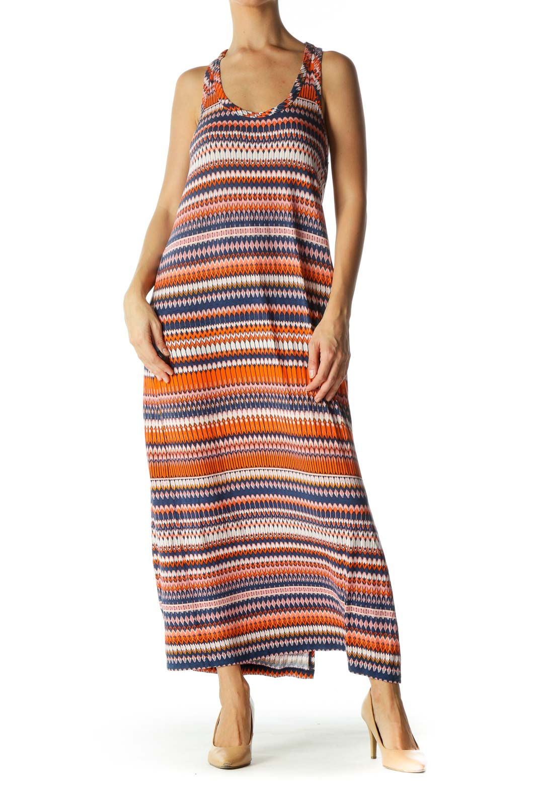 Orange Blue Patterned Side-Slit Maxi Day Dress