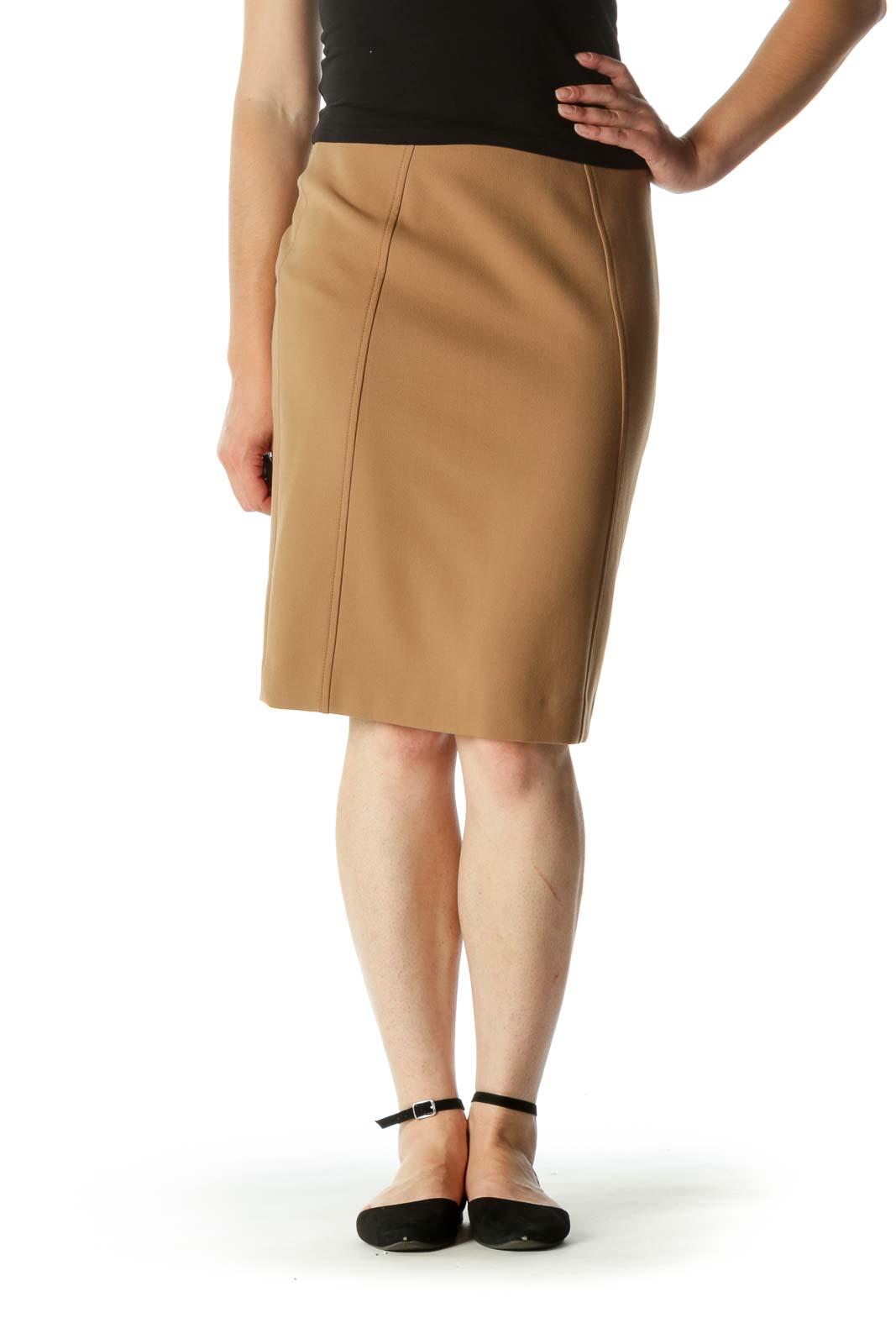 Beige Soft Texture Cinched Waist Slit Pencil Skirt