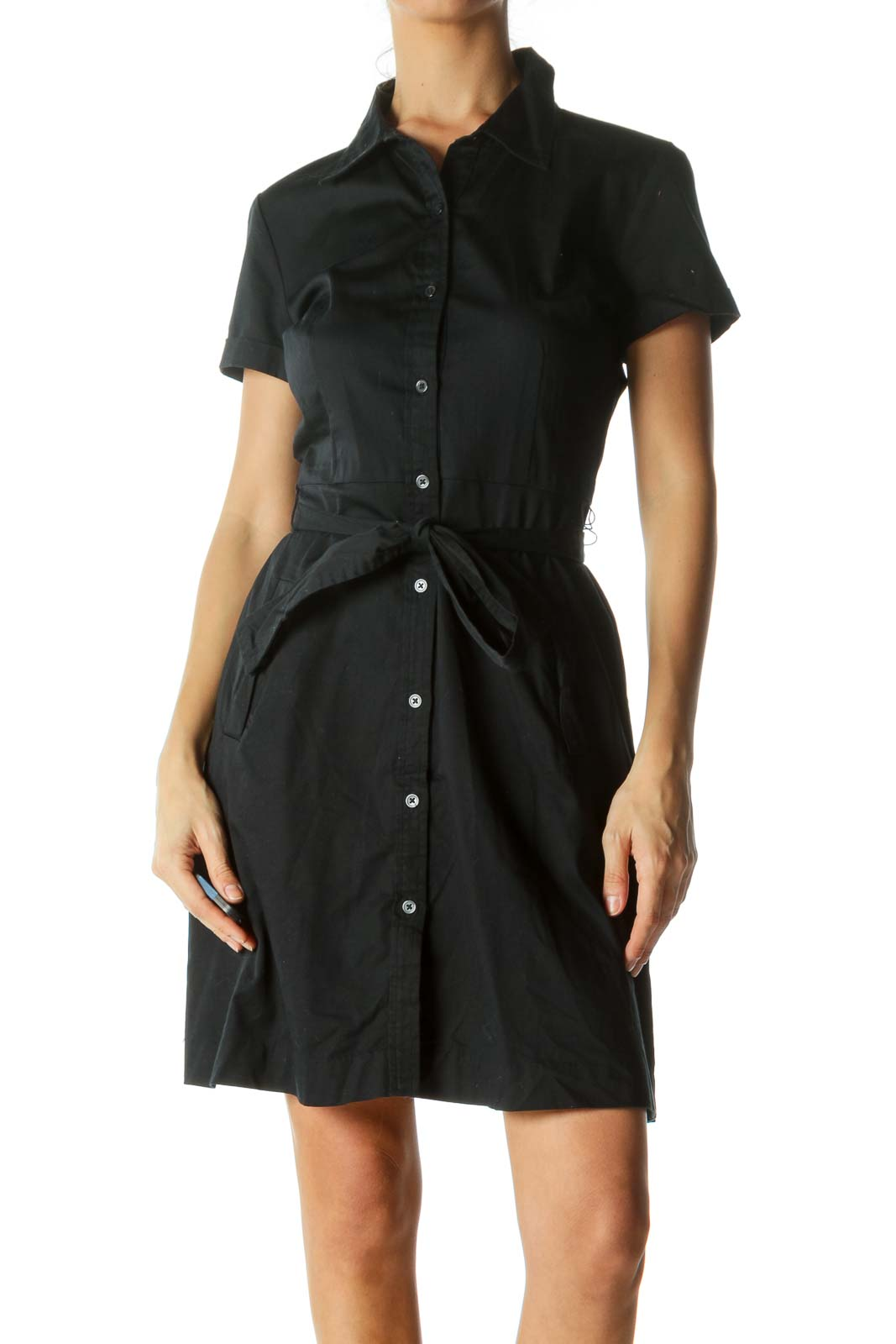 Black Button-Down Belted Day Dress