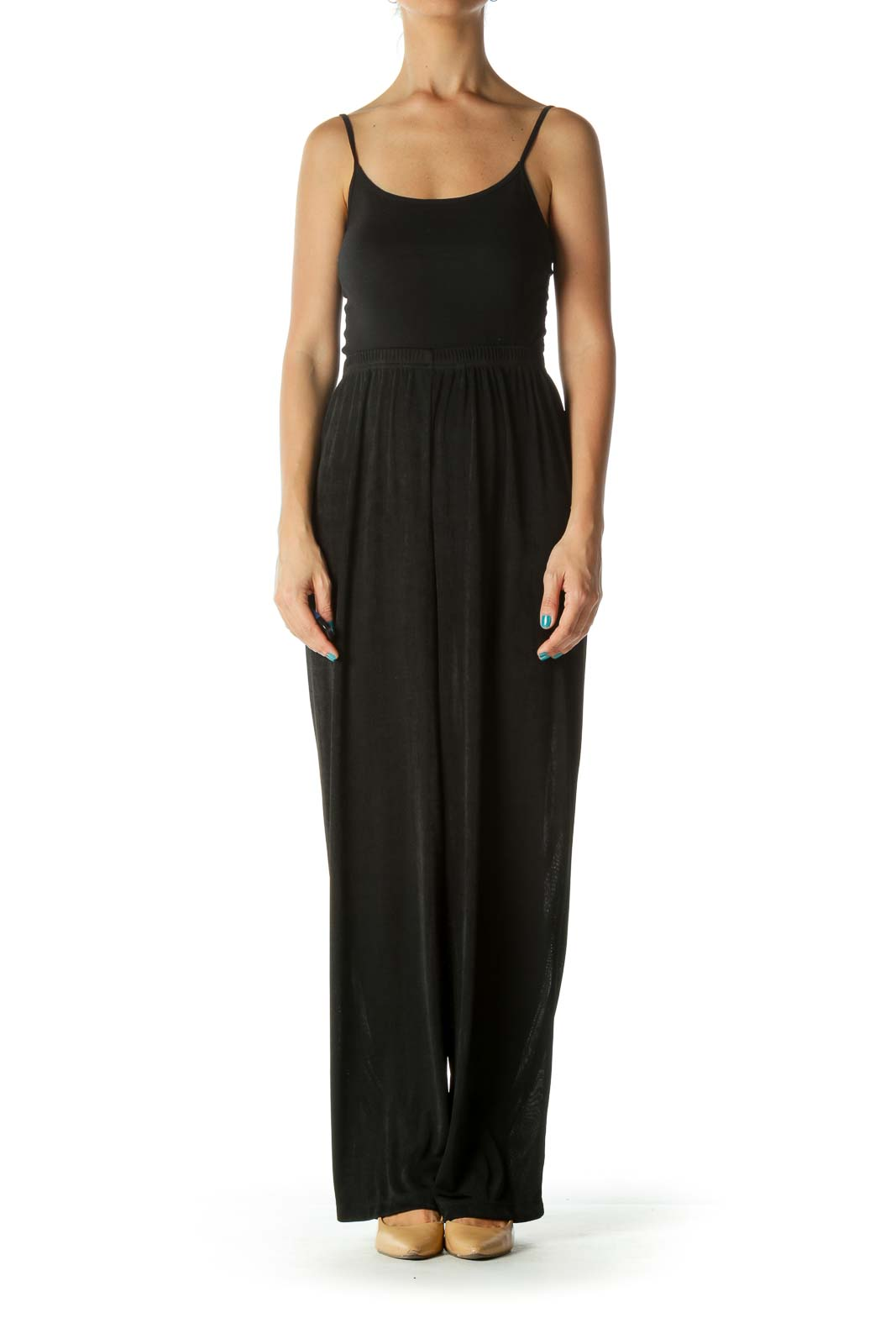 Black Textured Elastic Waist Draped Straight Leg Pants