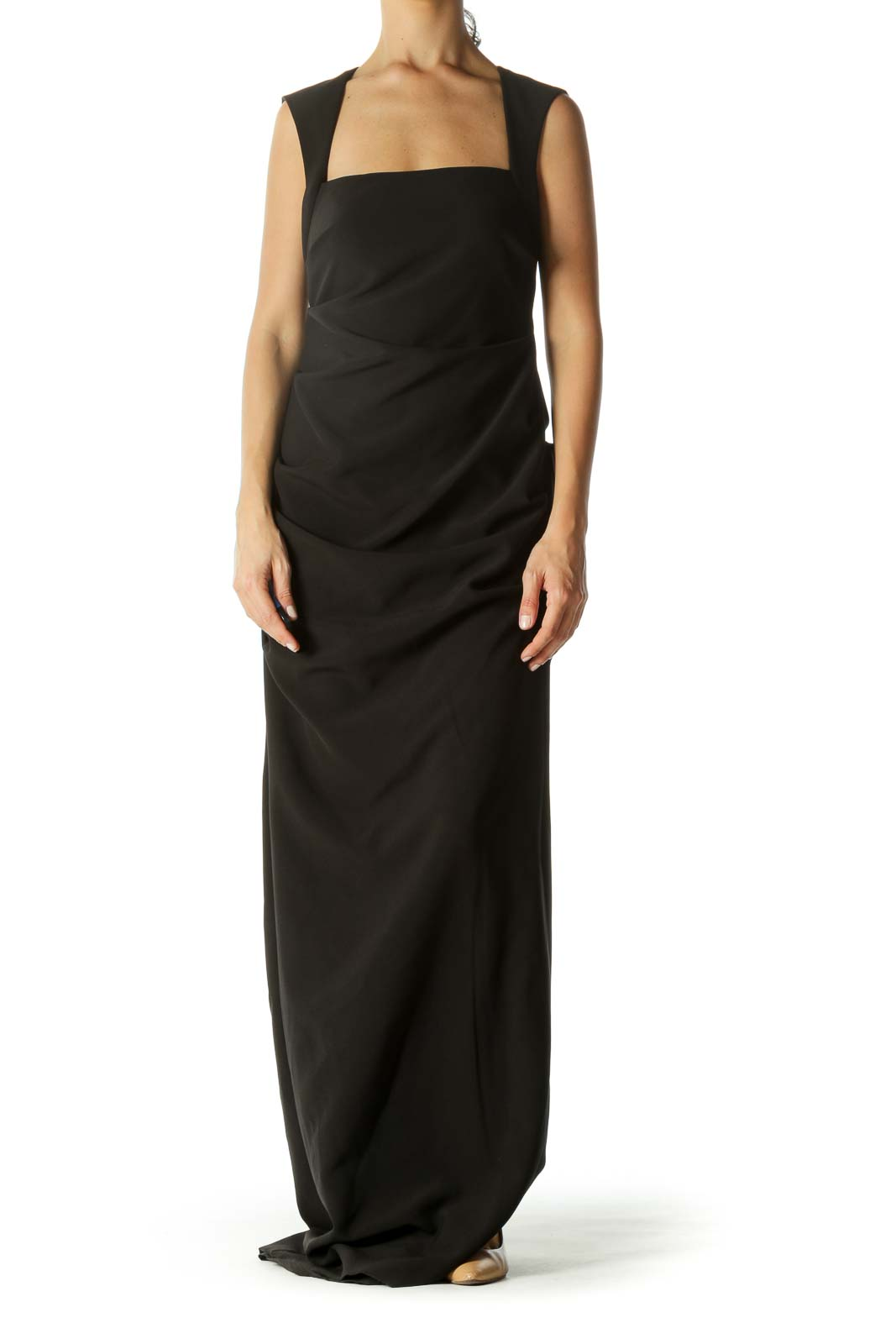 Black Square Neck With Open Back Ruched Slit Evening Dress