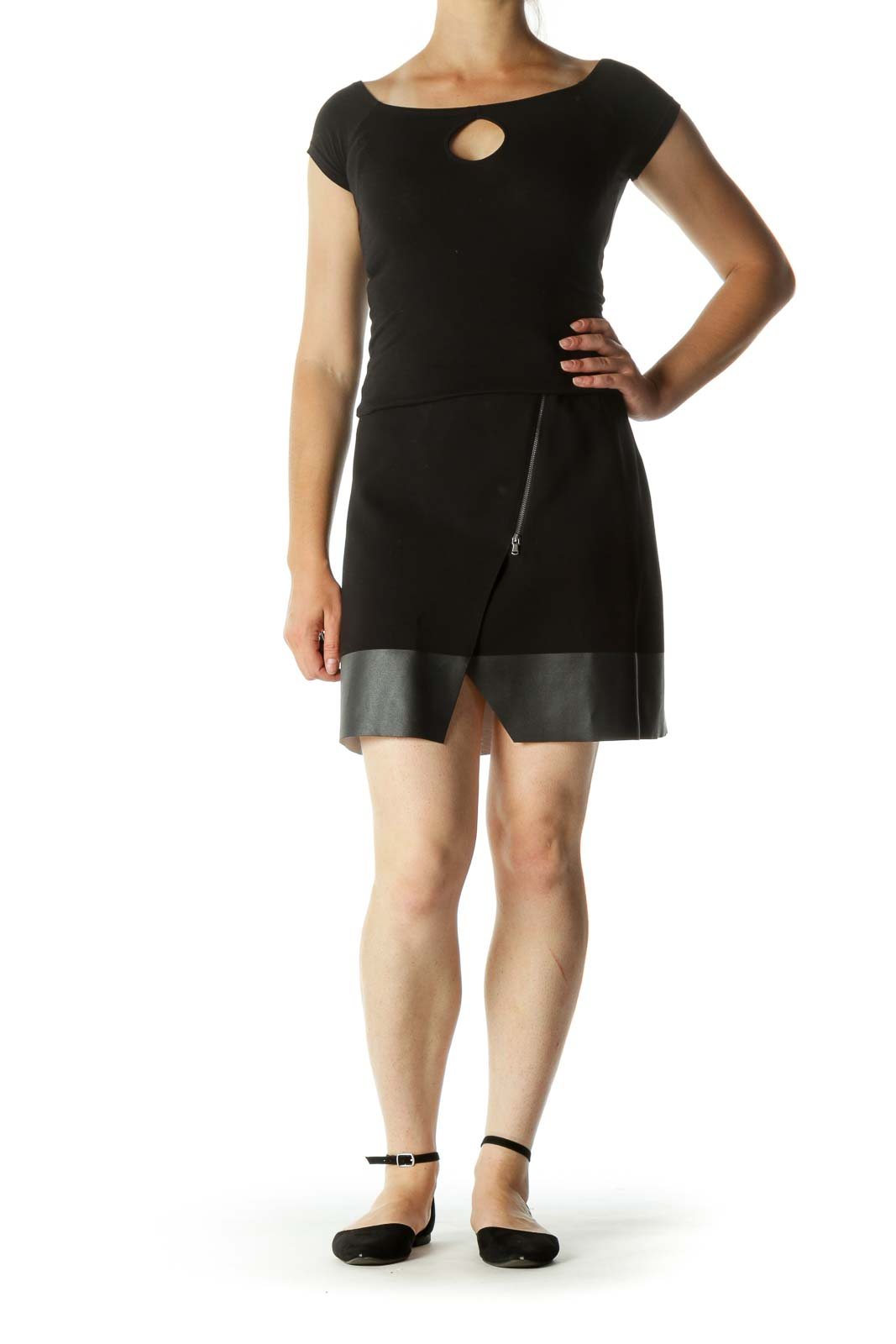 Black Mixed-Media Zippered Slit A-Line Skirt