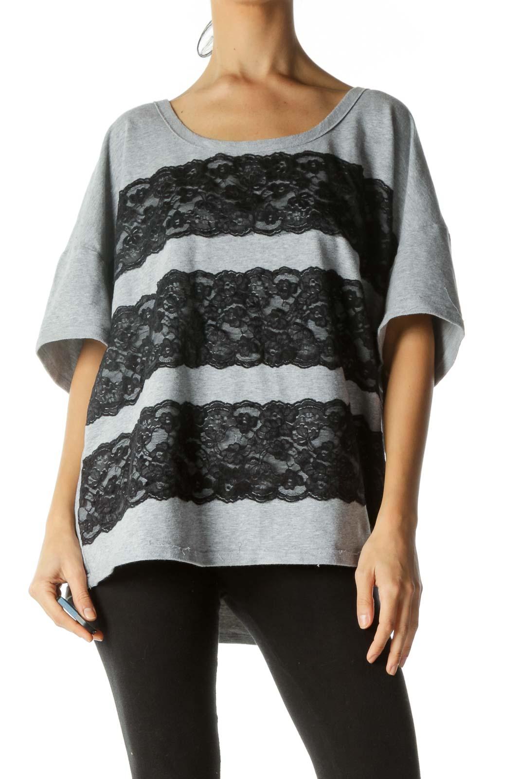 Gray Black Round Neck Lace Applique Stretch T-Shirt