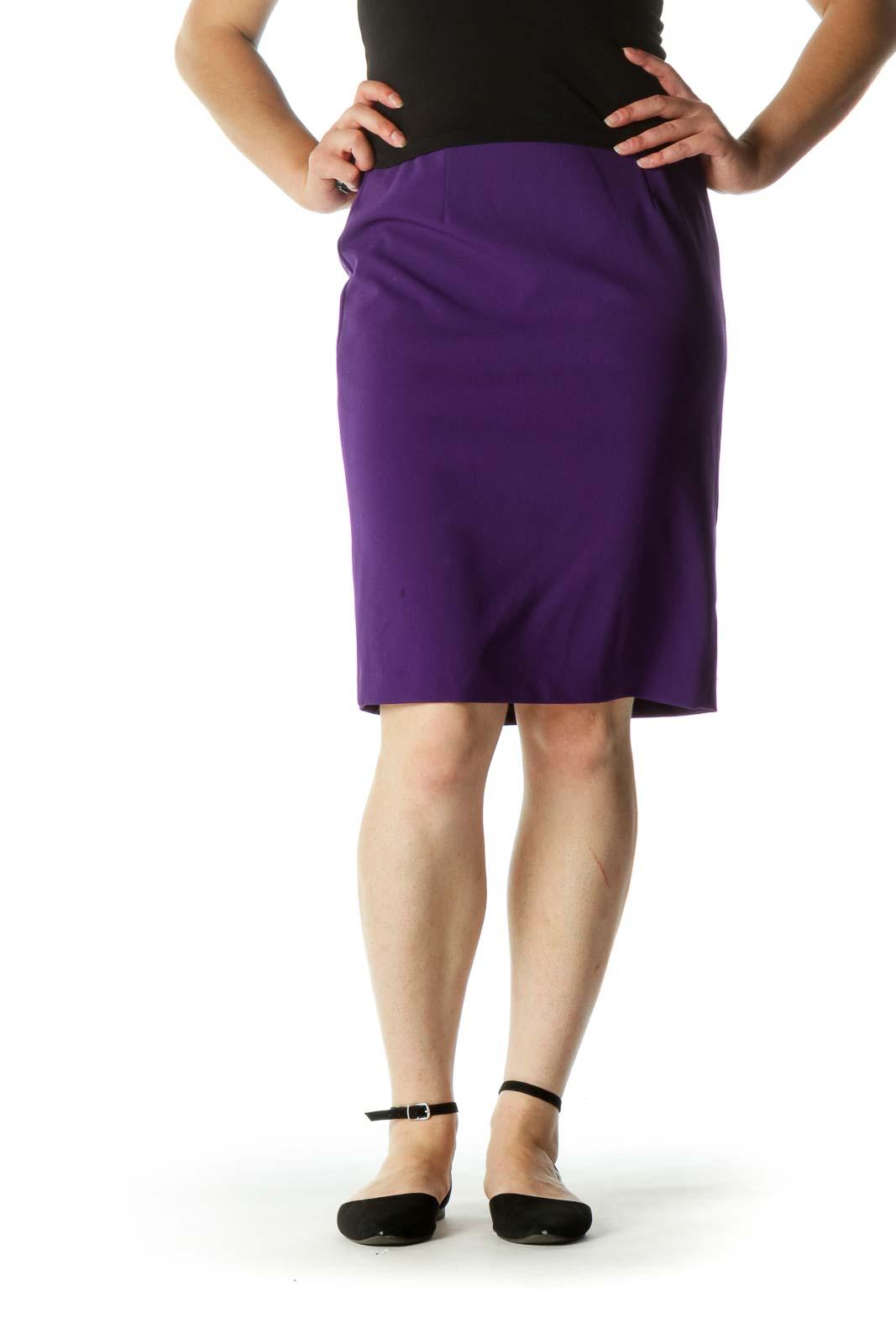 Purple Cinched Waist Zippered Slit Pencil Skirt