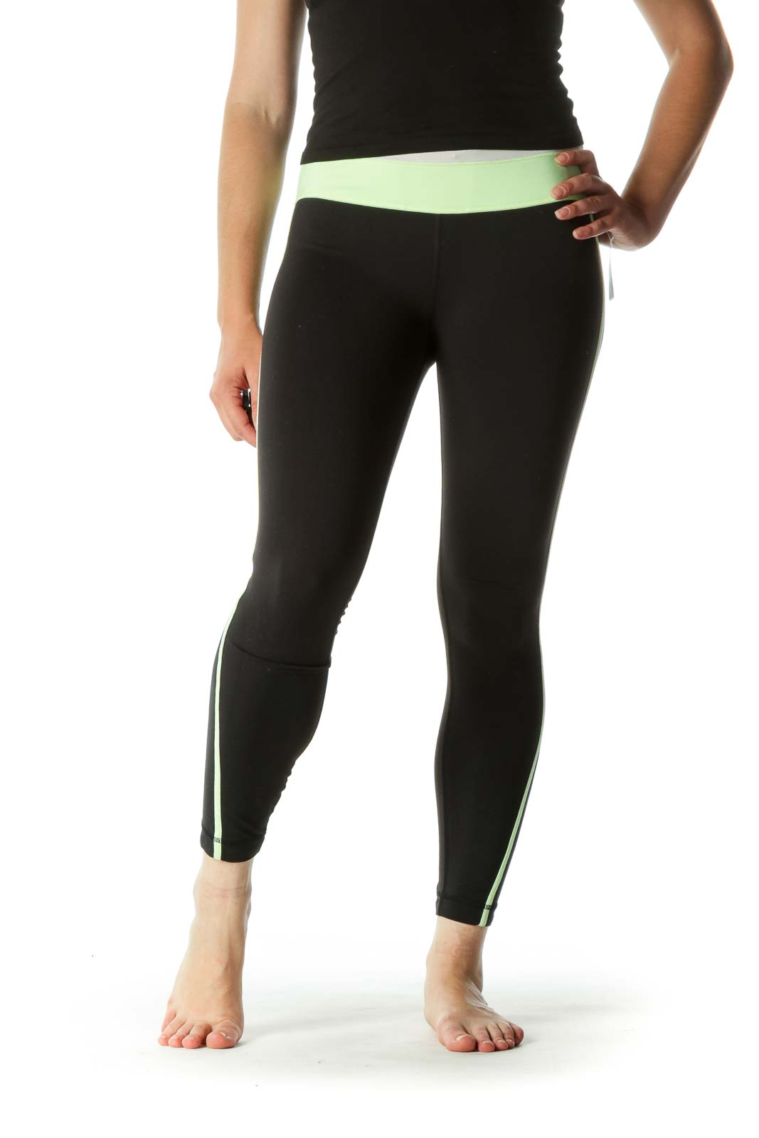 Gray Green Black Leg Details Stretch Active Pants