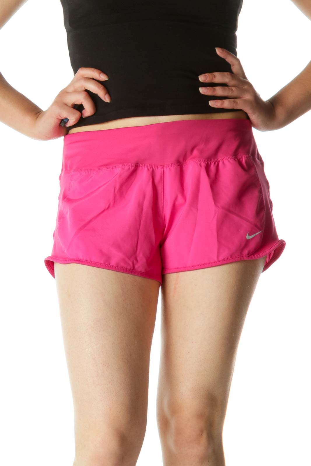 Pink Stretch Running Shorts with Inside Drawstring