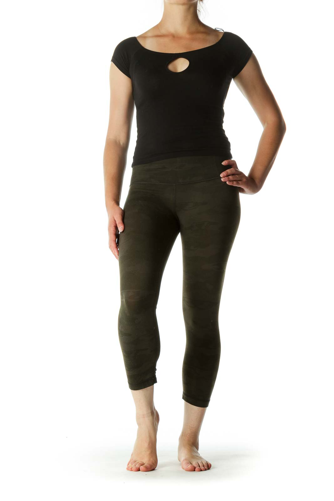 Green Camouflage Print Stretch Active Stretch Pants