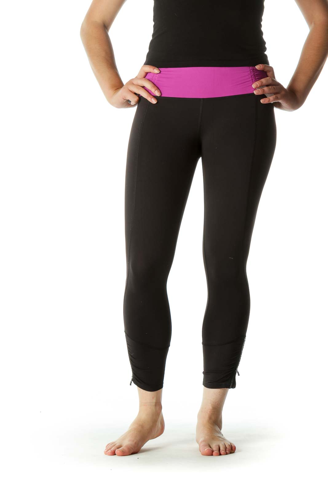 Purple Black Scrunch and Zippers Detail Inside Pockets Active Pants