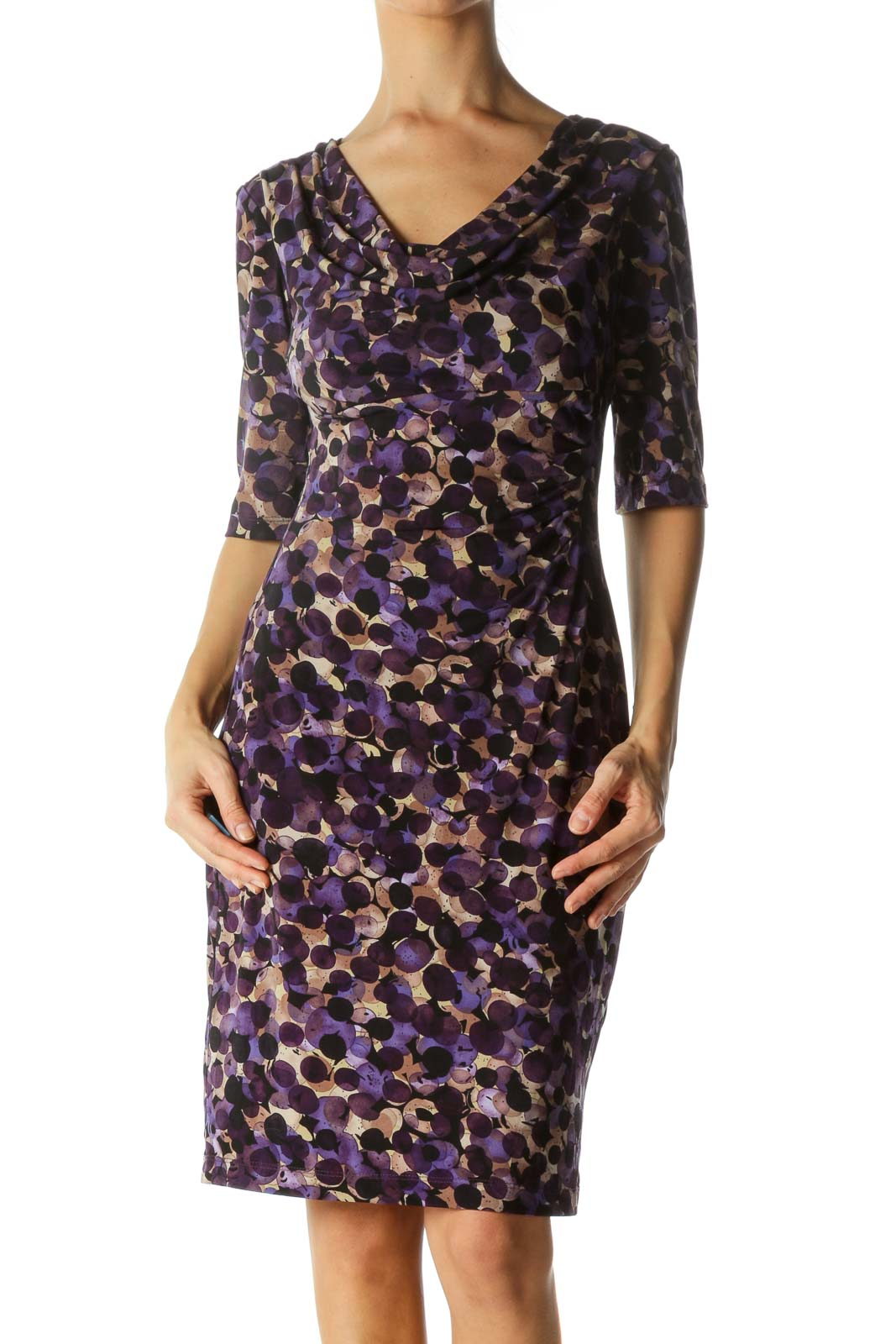 Purple Patterned Ruched Neck Dress