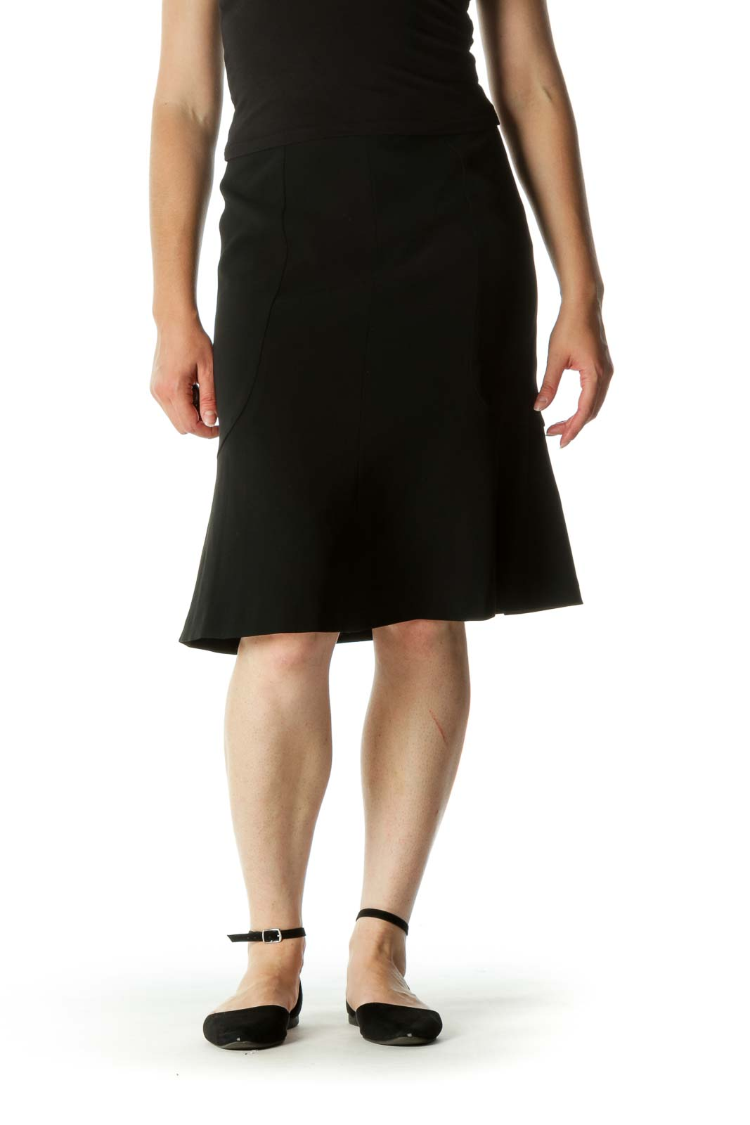 Black Flared Cinched Waist Skirt