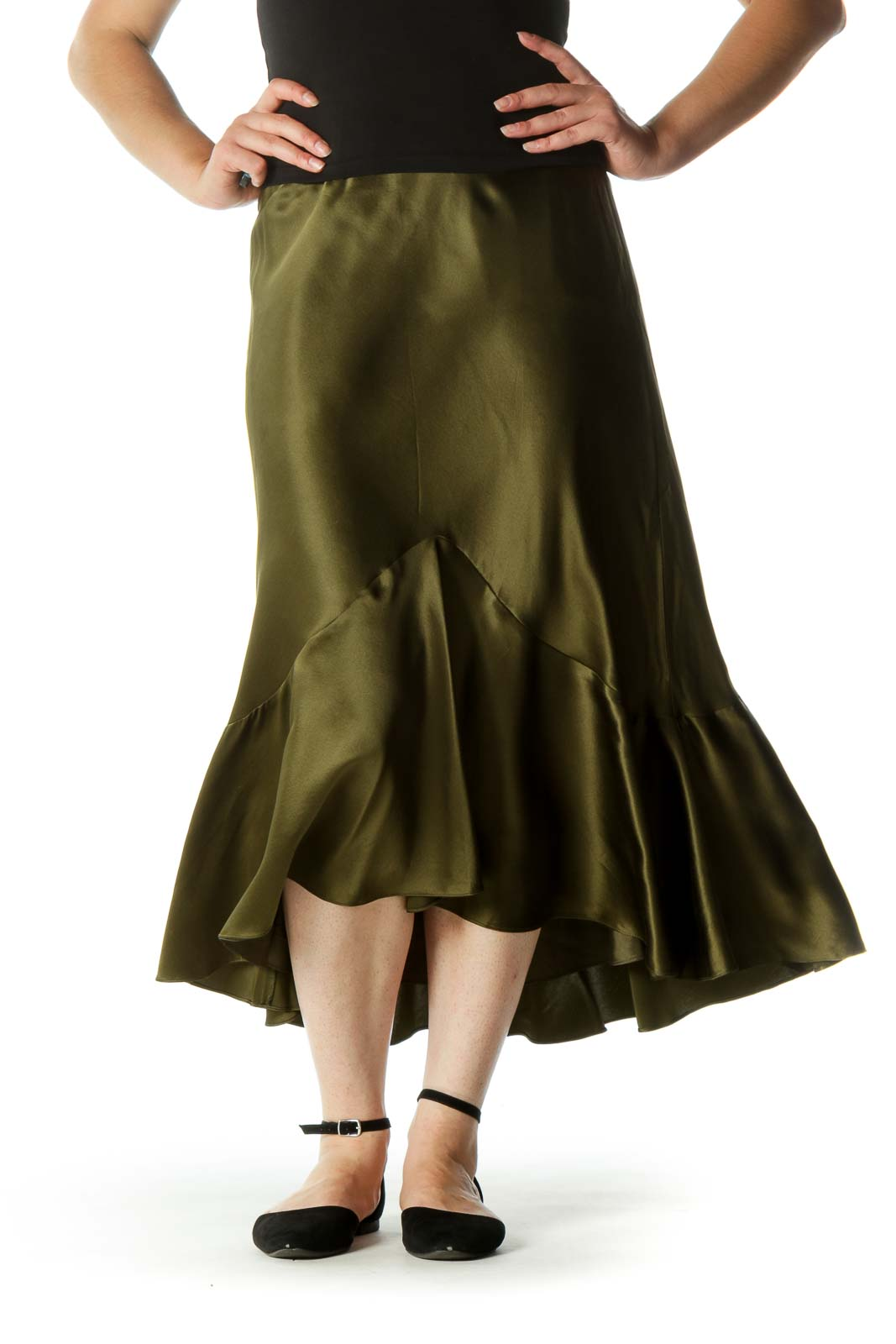 Olive Green 100% Silk Flared Midi Skirt