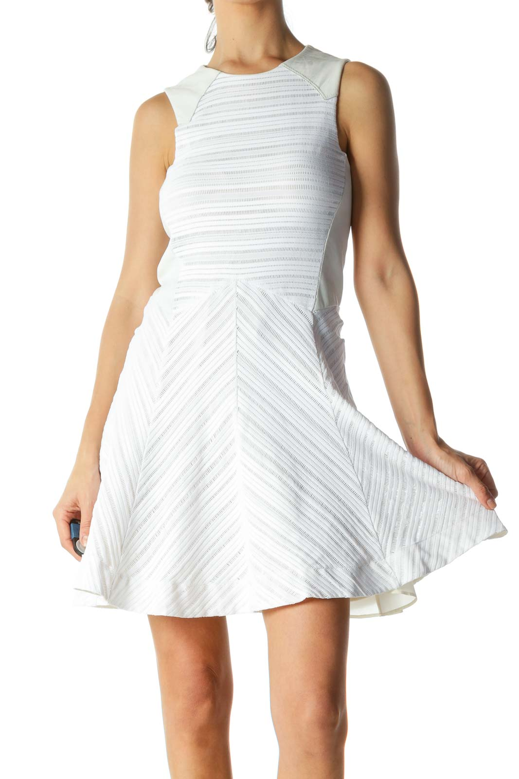 White Crocheted Contrast A-Line Mini Dress