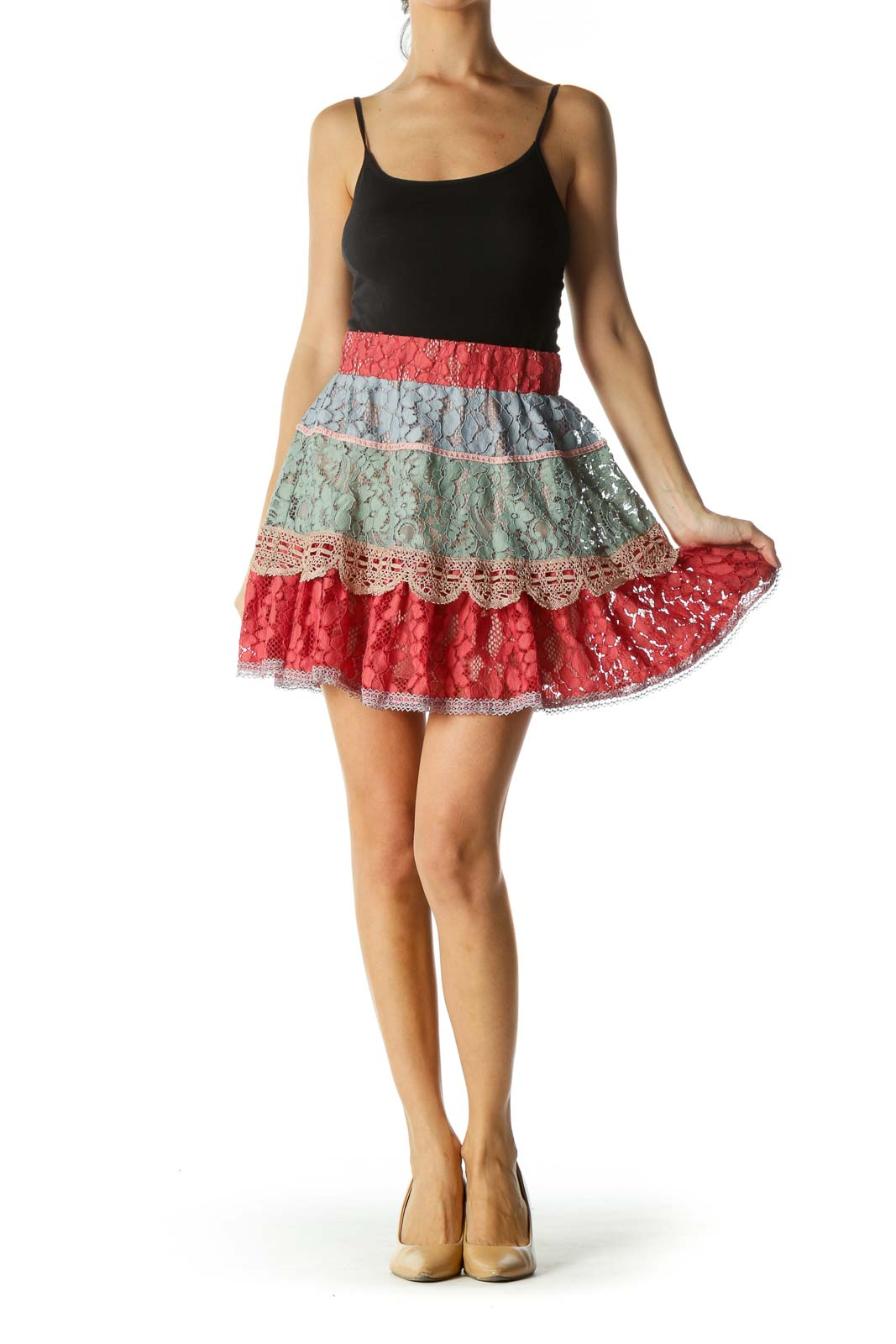 Multicolored Elastic Waist Lace Mixed-Media Flared Skirt