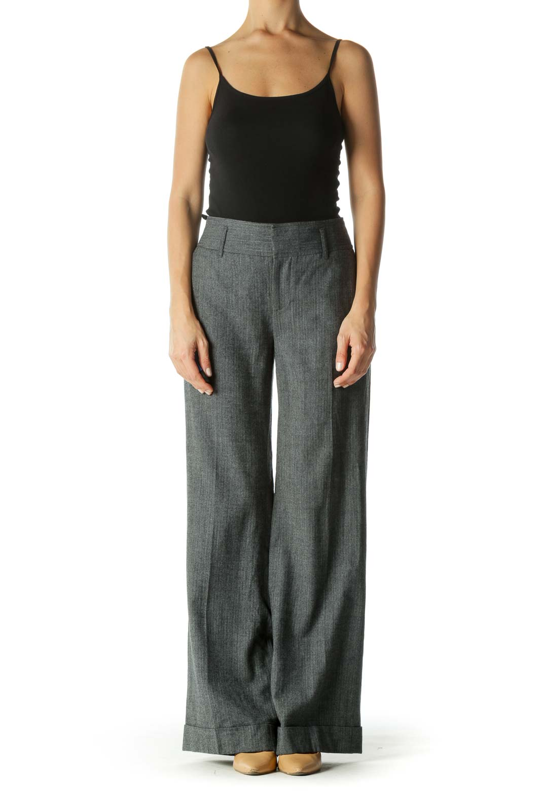 Gray Wool Blend Pocketed Textured Pants