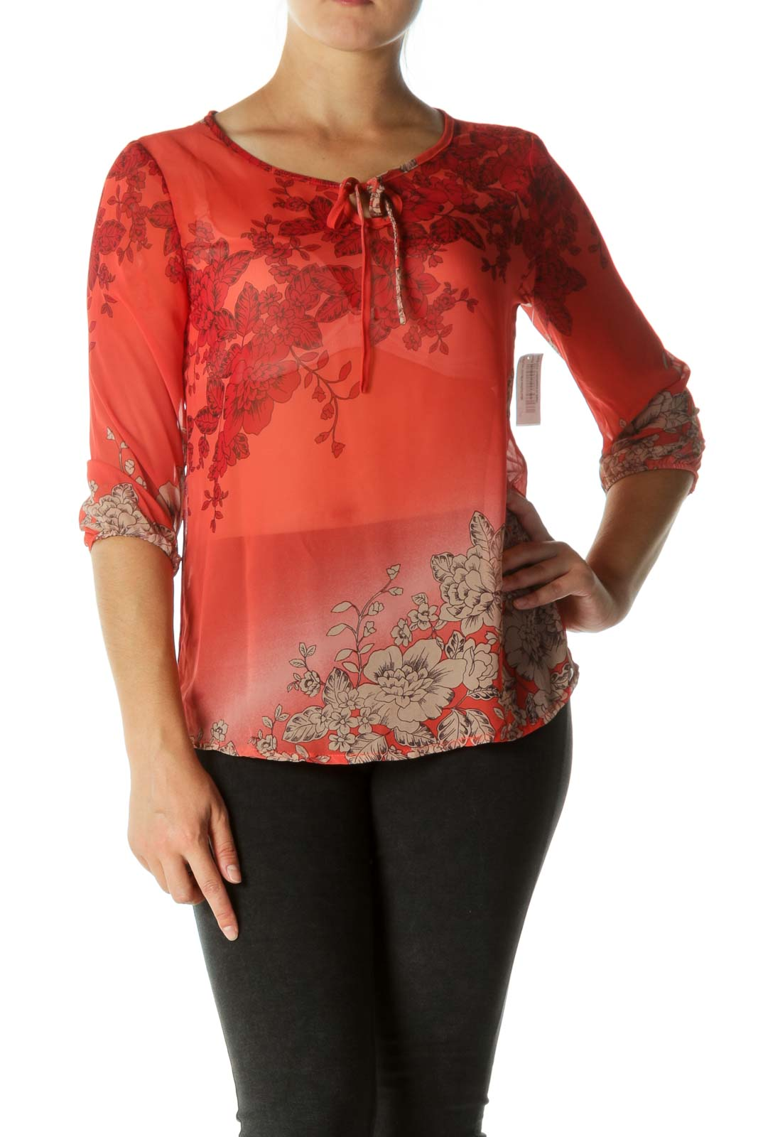 Red Keyhole See-Through Blouse