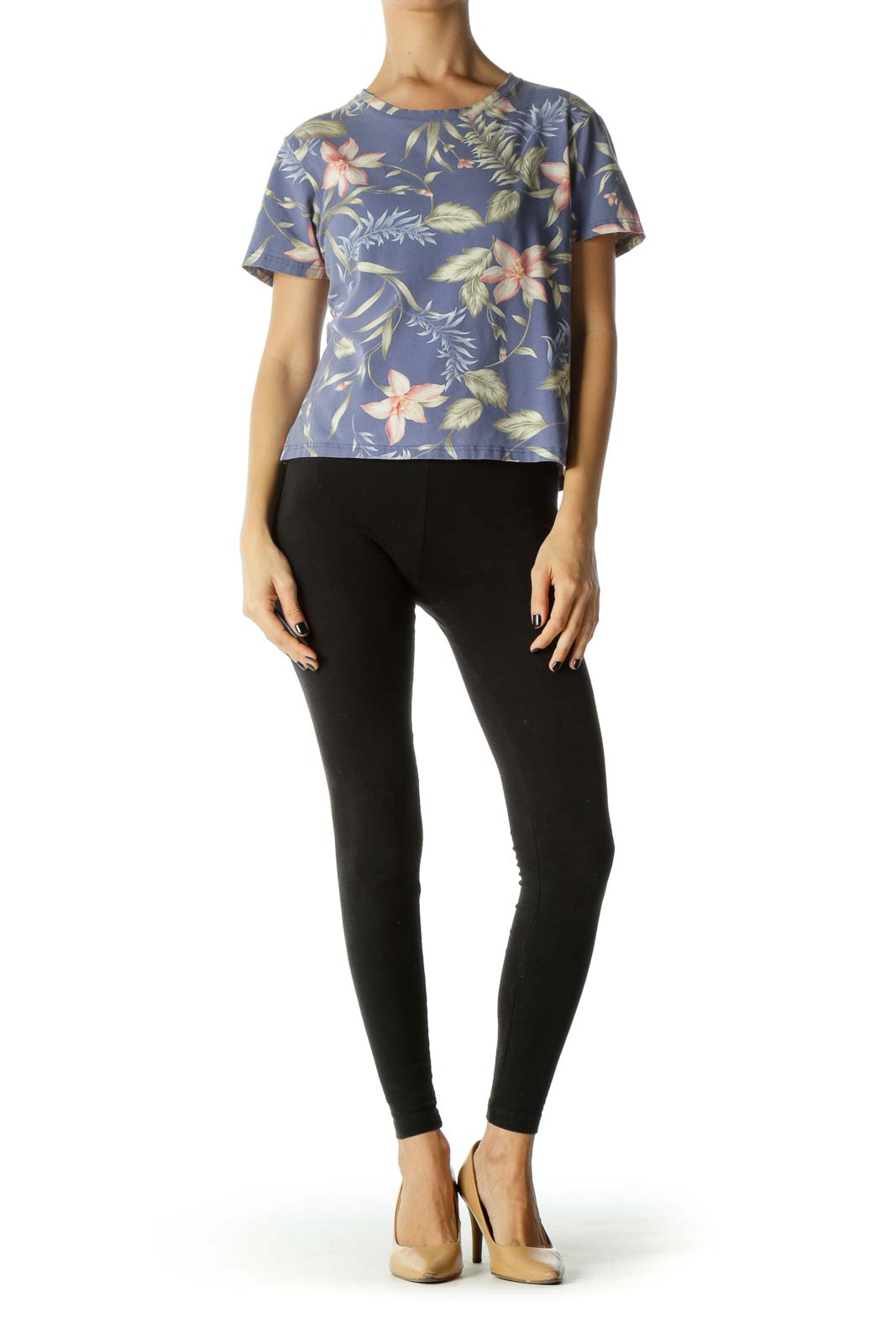 Multicolor Round Neck Floral-Print T-Shirt