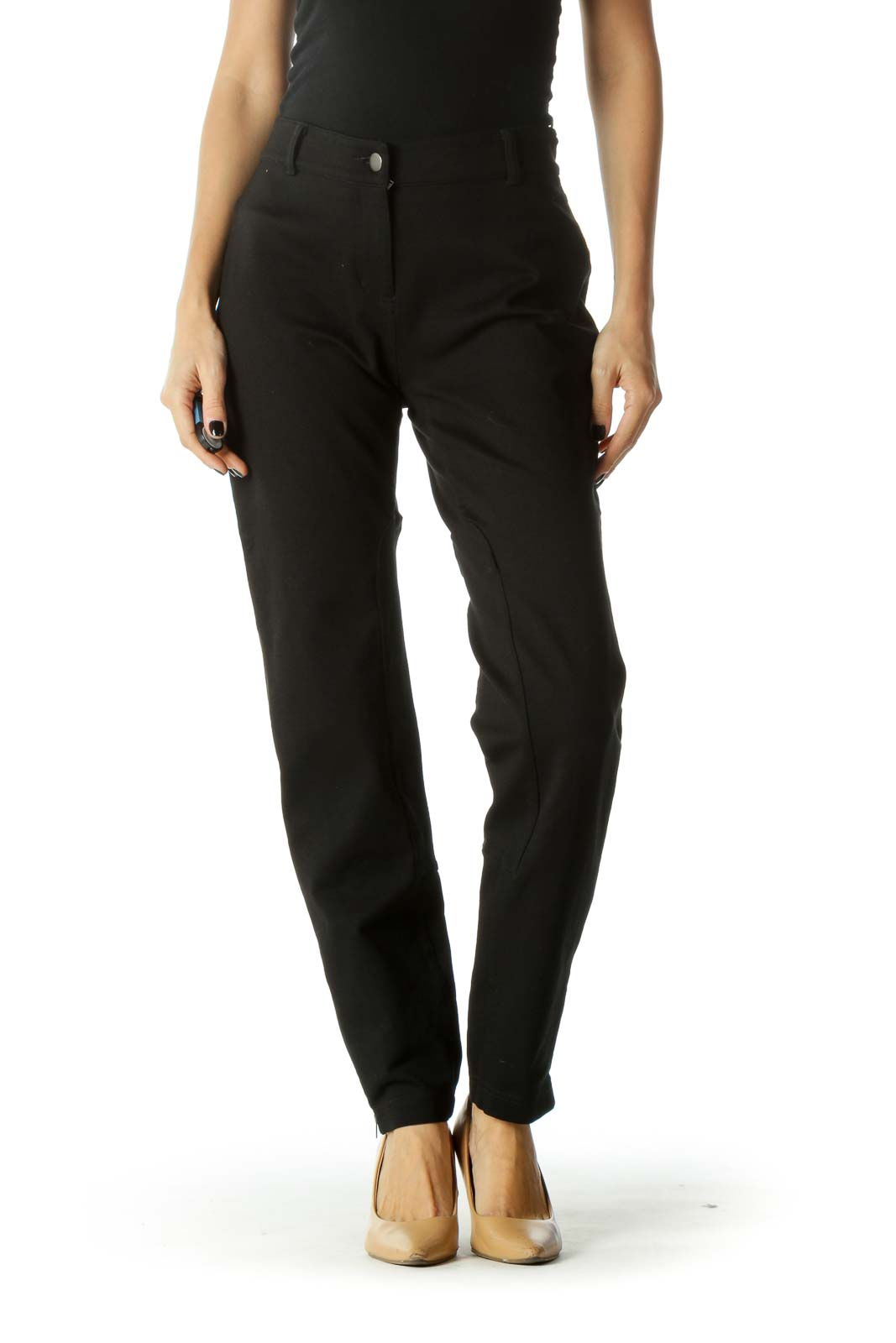 Black Zippered Leg Pocketed Tapered Pants