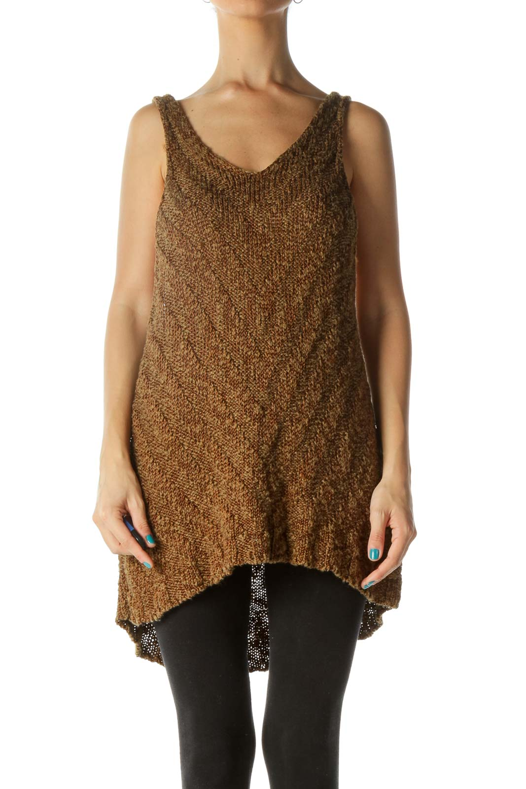 Brown Asymmetric Racerback Cable Knit Top