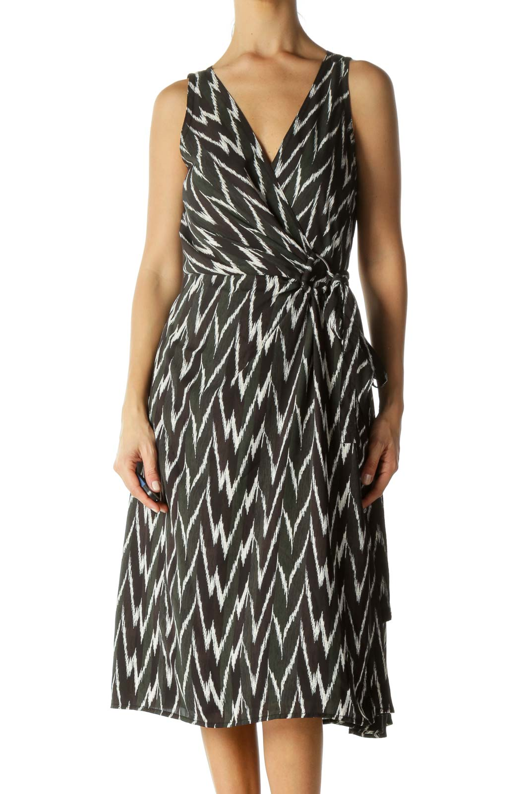 Black&Green Patterned Wrap Dress