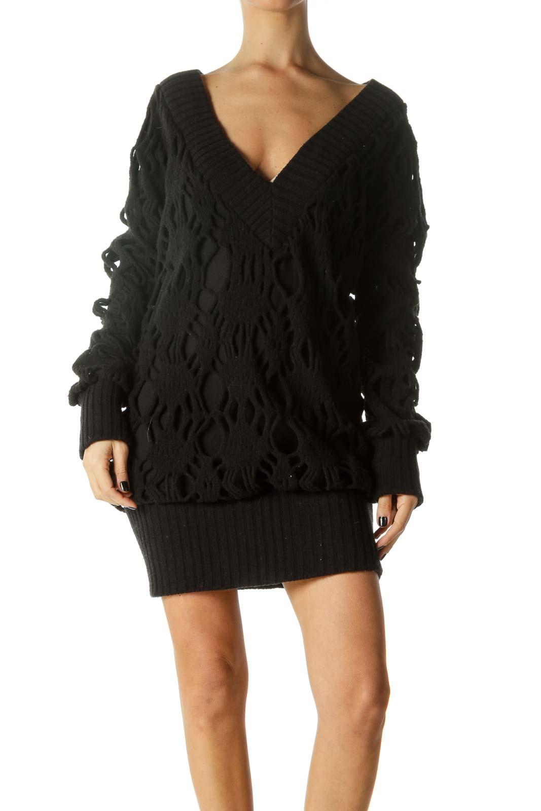 Black V-Neck Long Sleeve Knit Dress