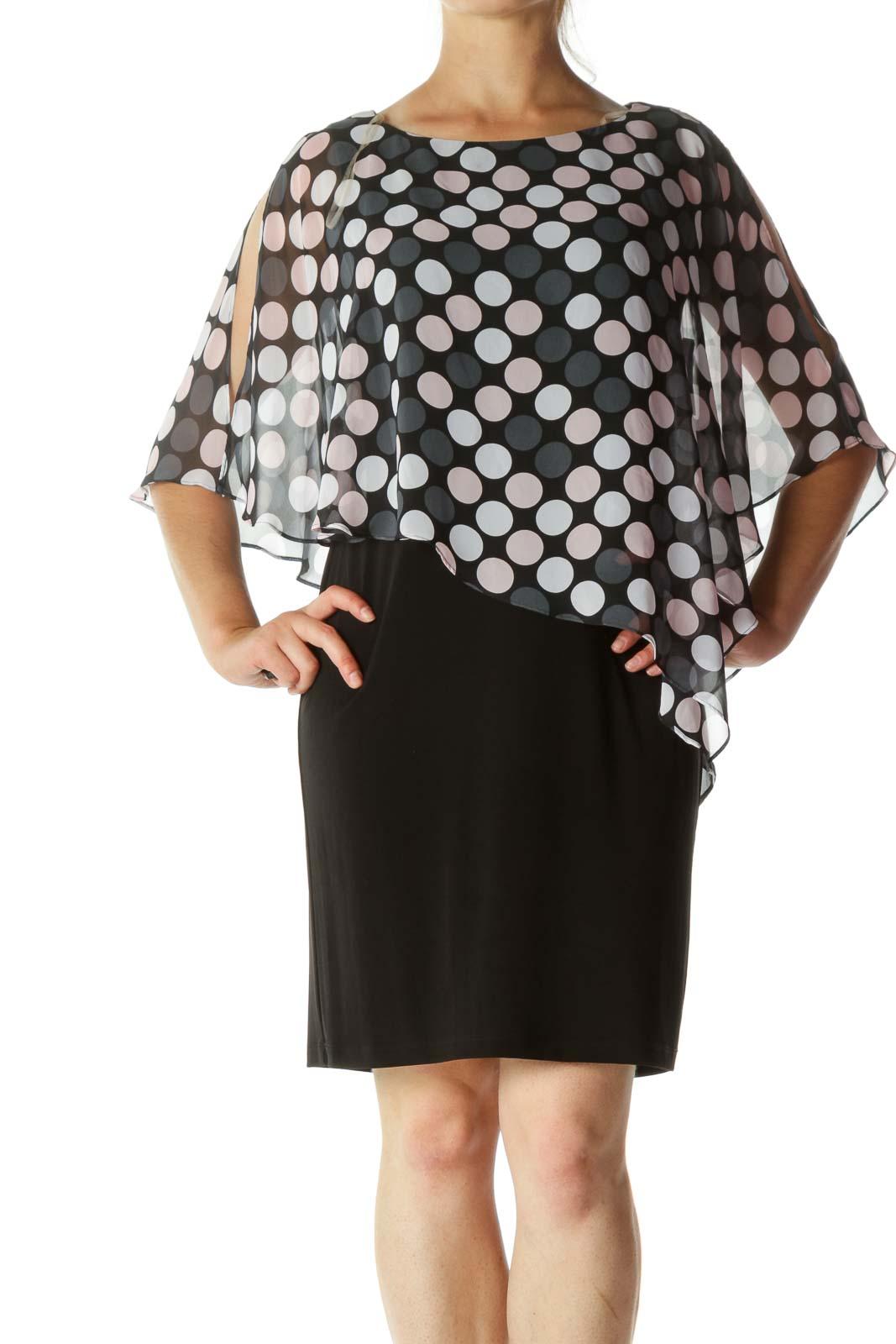 Black And Pink Polka Dots Cape Shirt Dress
