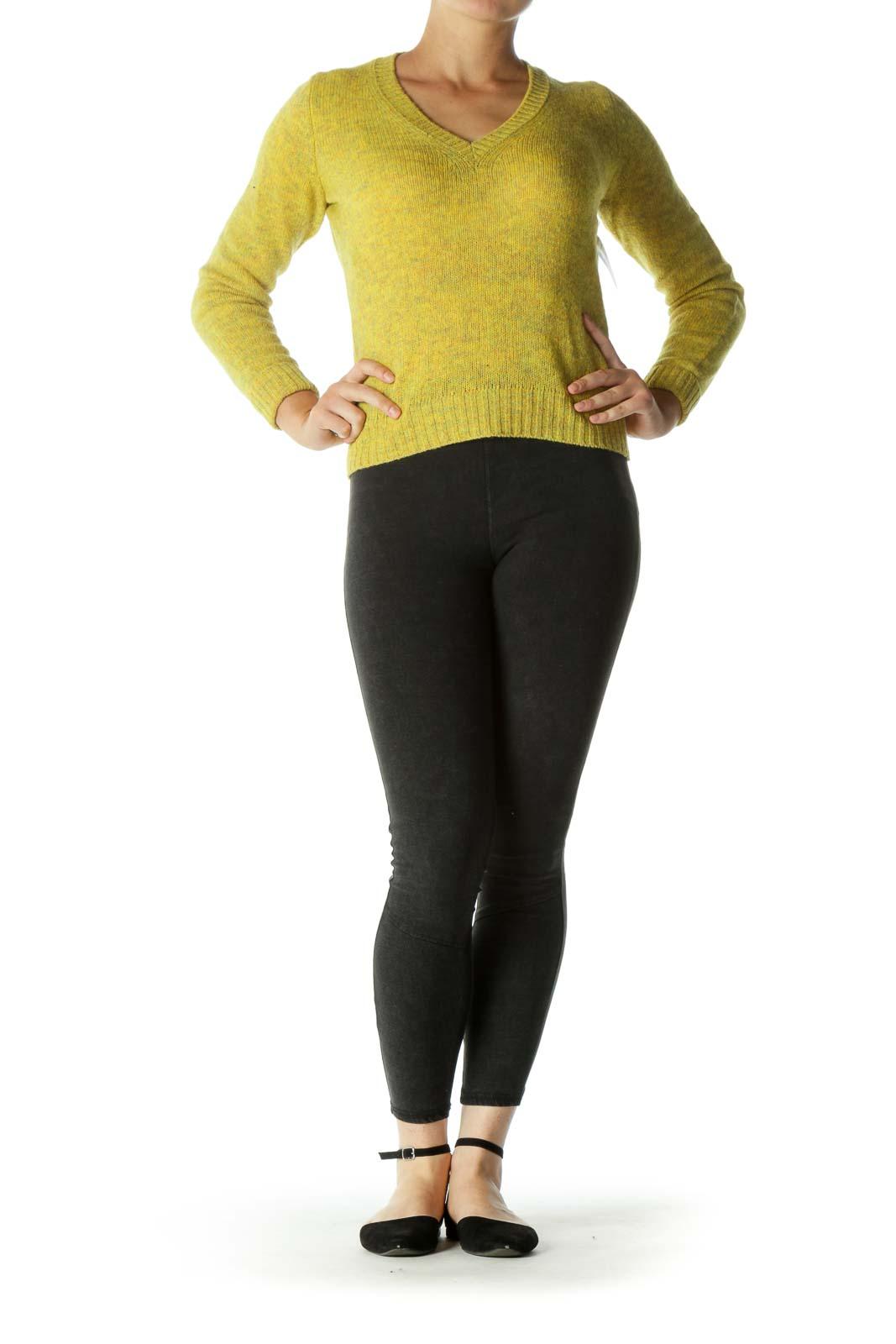 Mustard Blend Wool V-neck Sweater