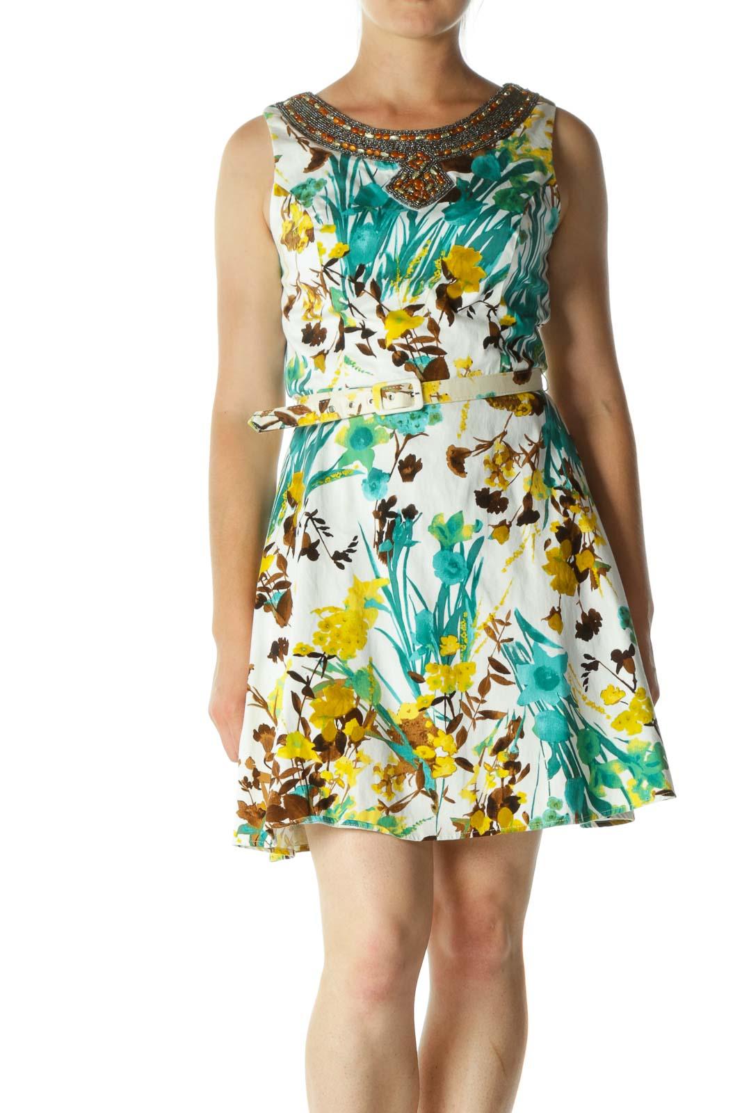 White Green Embellished & Floral Belt Midi Dress