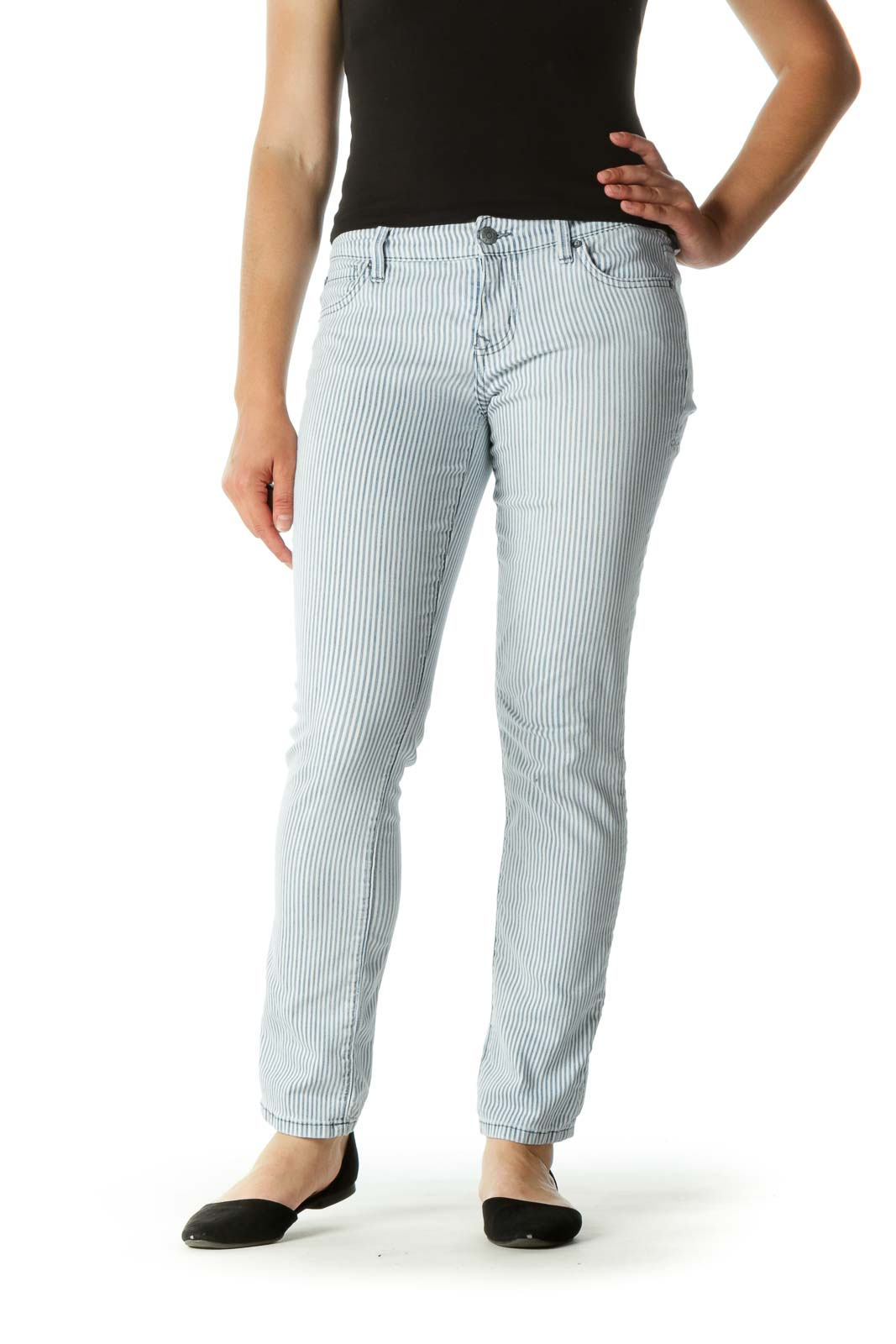 Blue White Striped Stretch Tapered Pants
