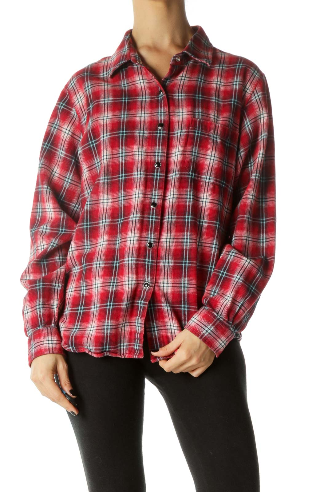 Red Snap Button Chest Pocketed Shirt