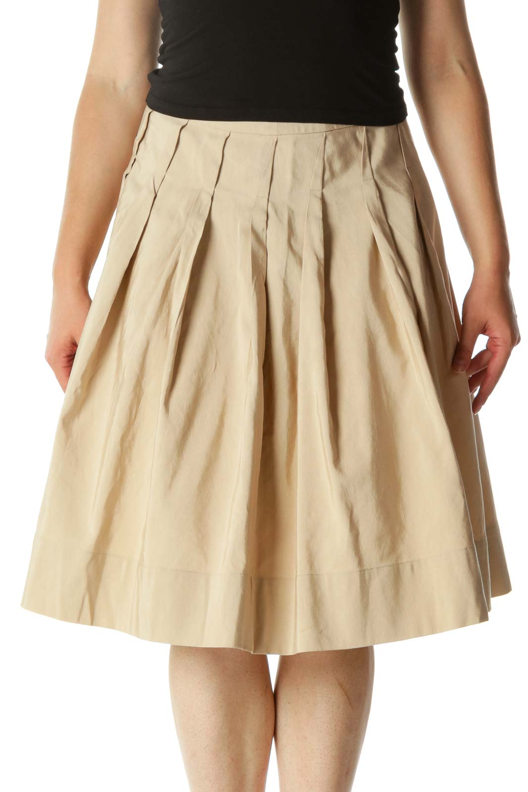 Beige Textured Pleated Cinched-Waist Flared Skirt