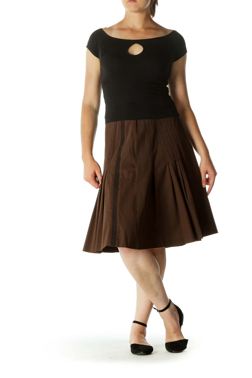 Brown Cinched-Waist Pleated A-Line Flared Skirt