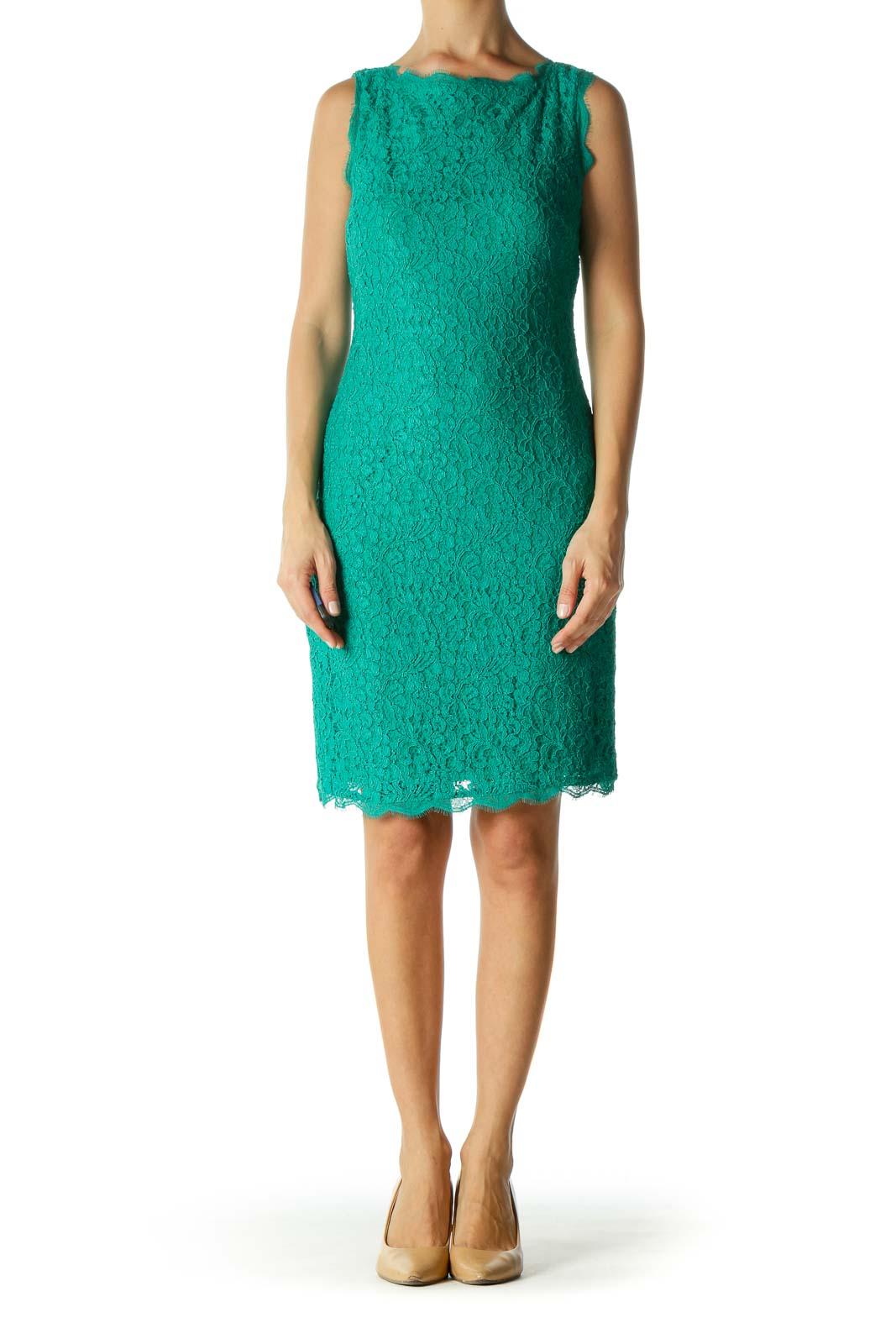 Green Lace Back-V-Neck Fitted Dress