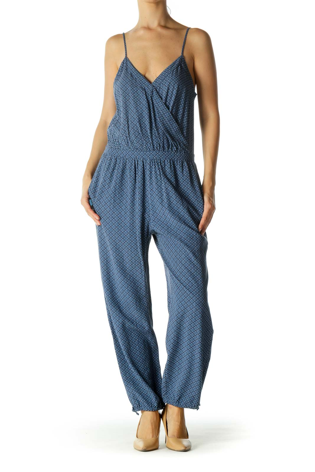 Blue Pattern Cami Jumpsuit