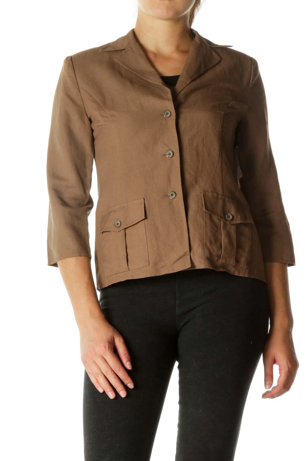 Brown Lapel Buttoned Blazer