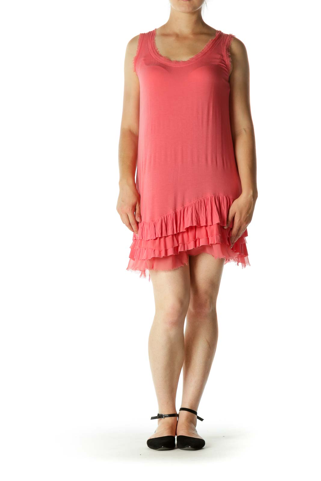 Coral Pink Round Neck Raw Hem Trim and Flare Detail Jersey Dress