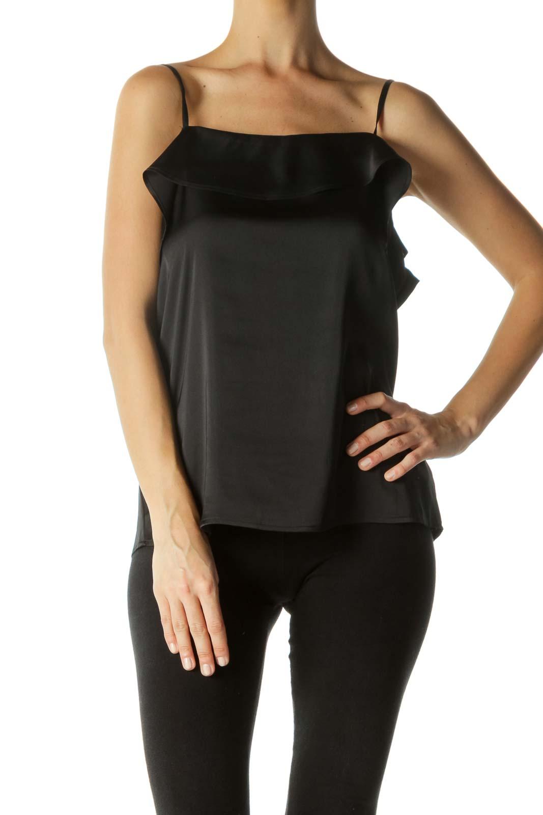 Black Open-Shoulder Ruffled Top