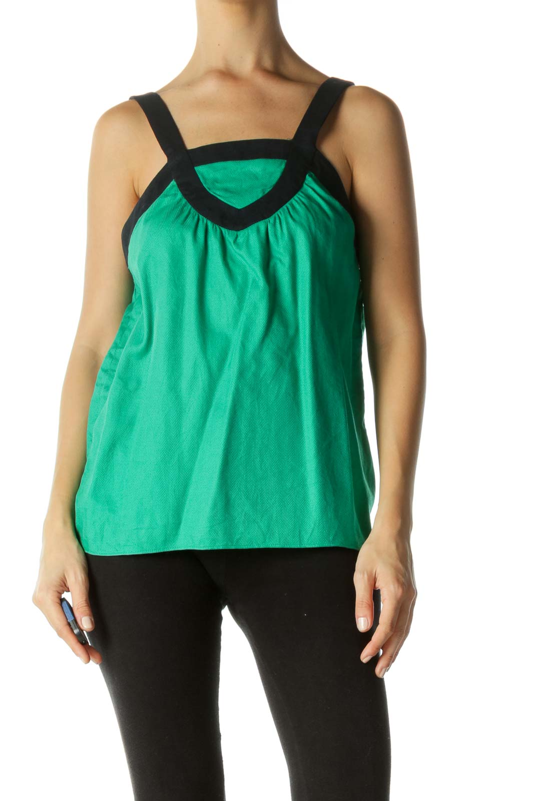 Green & Navy Contrast Piping Herringbone Tank Top