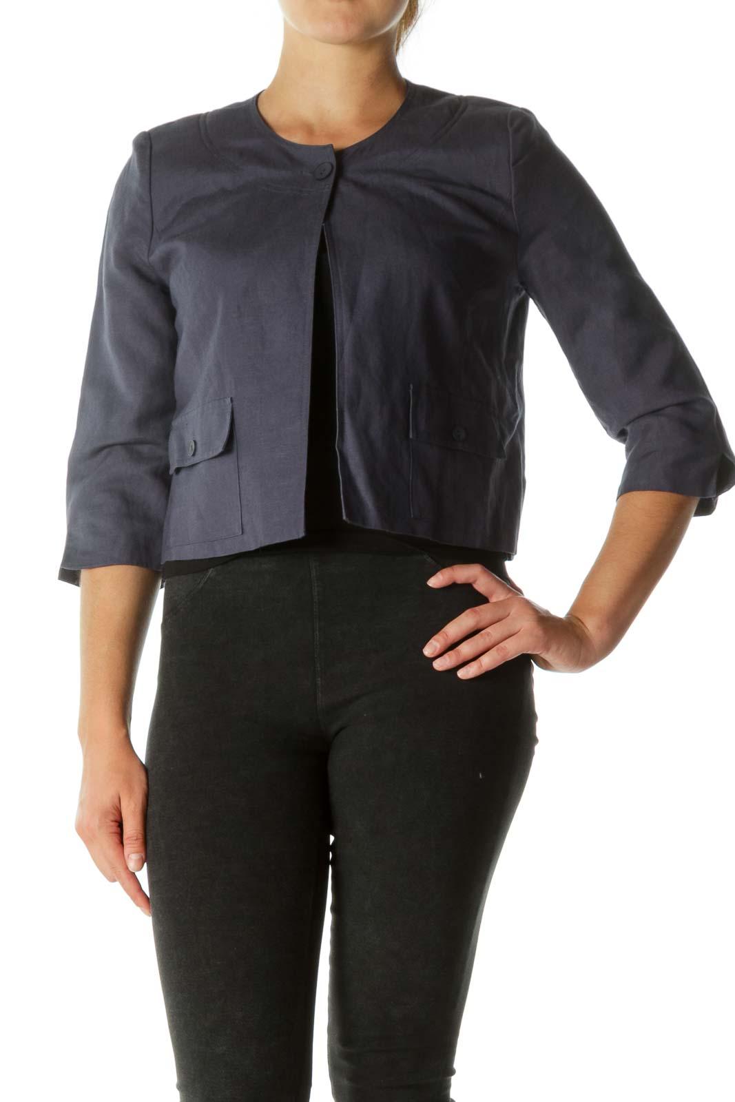 Navy Round Neck Buttoned Pockets Blazer